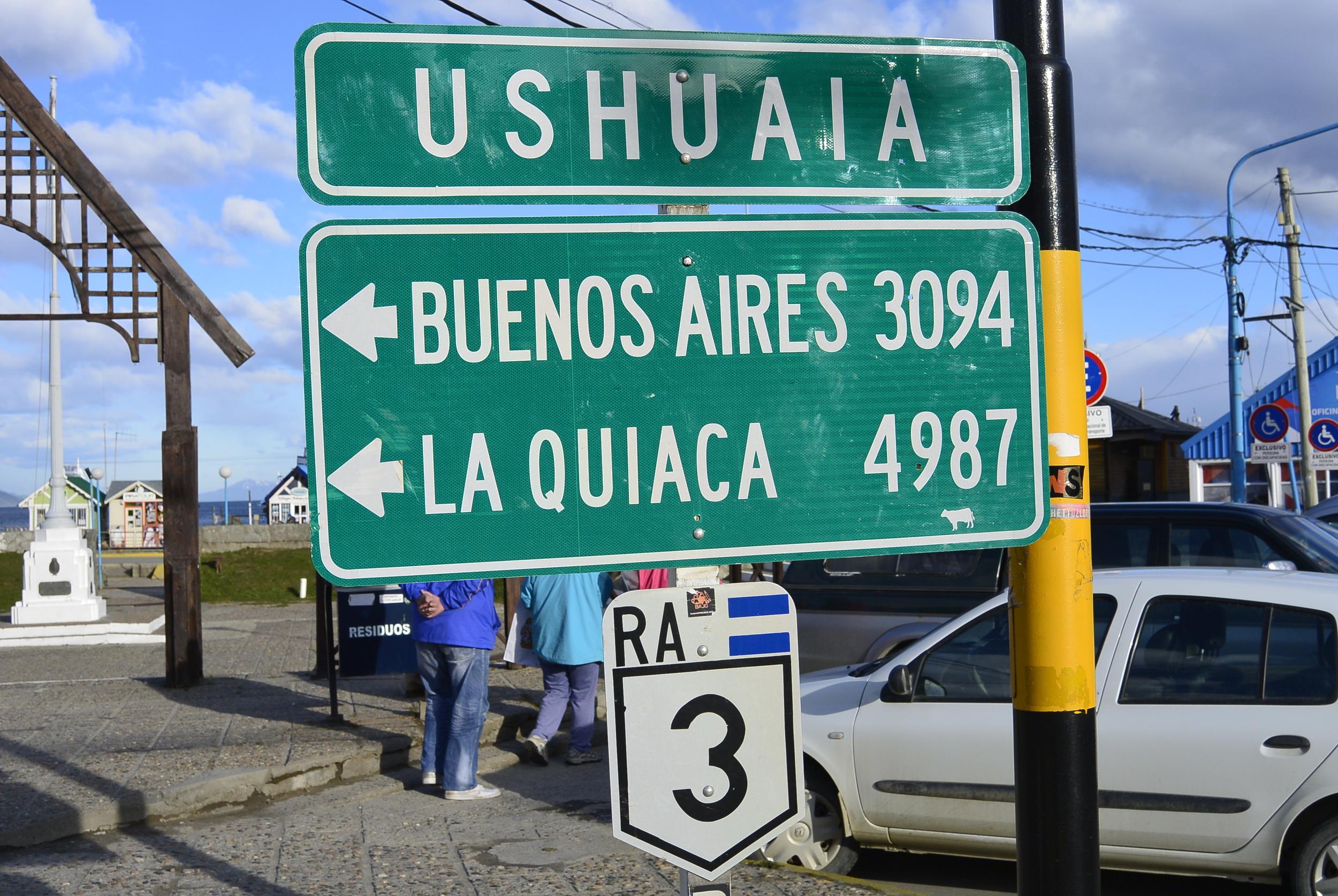 Ushuaia Argentina Road Sign