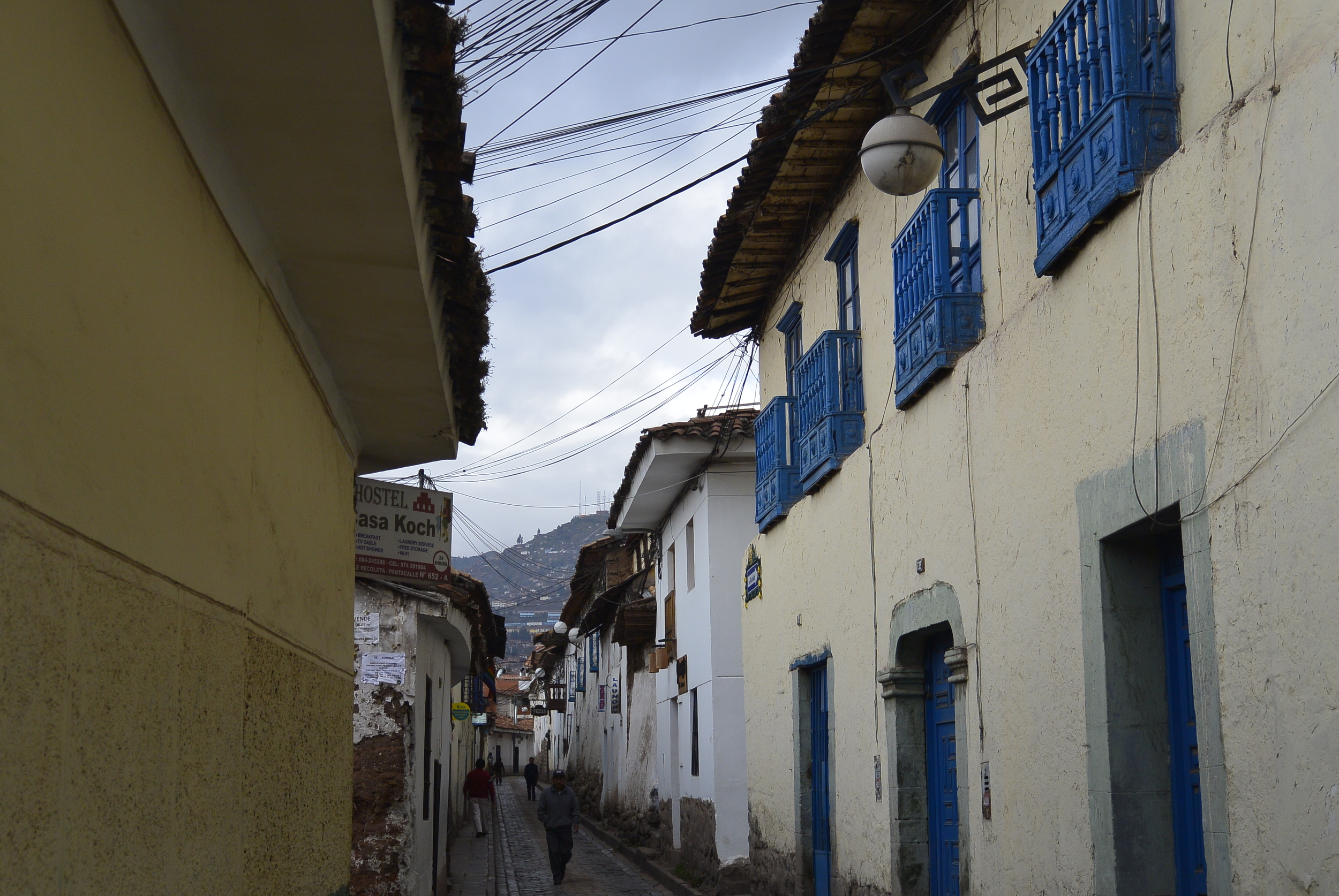 Cusco Peru Alley Colonial Blue House