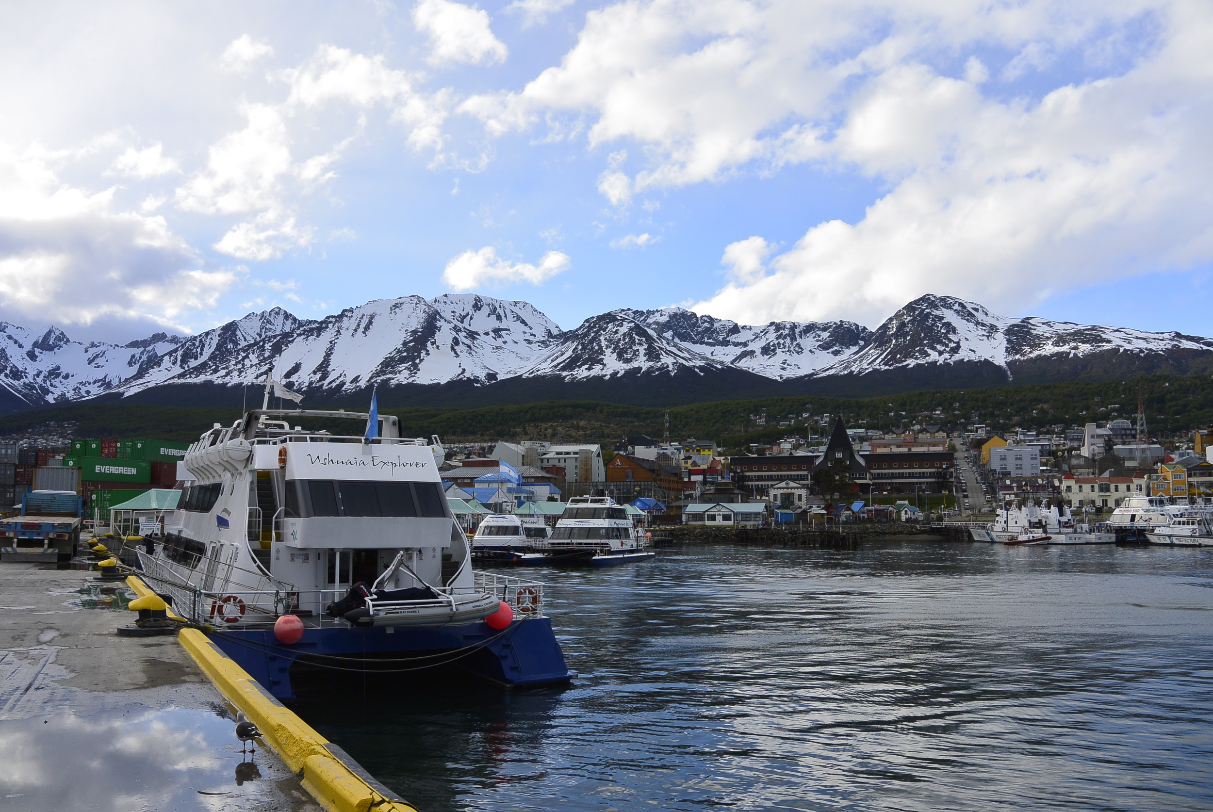Port of Ushuaia Argentina with Mountains