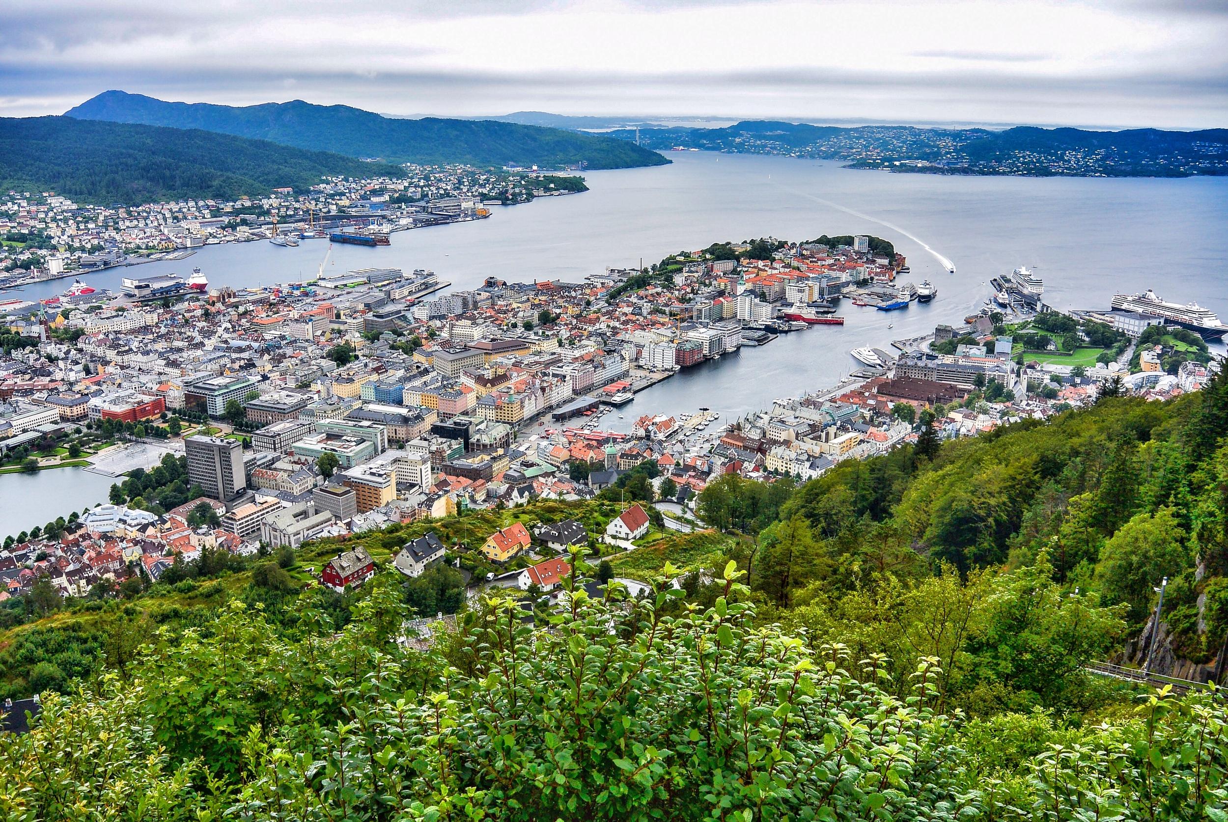 Mount Fløyen View of Bergen