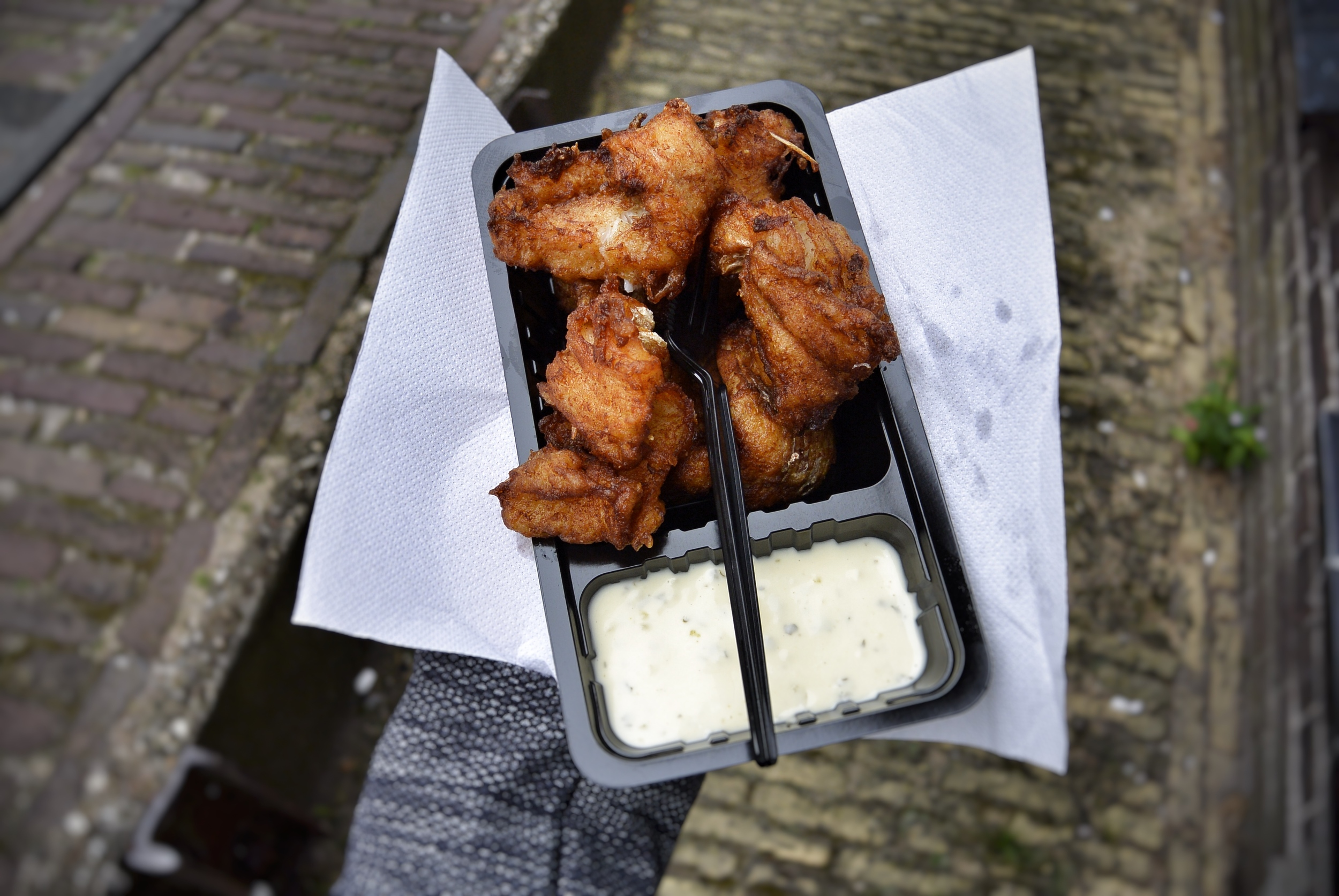Eating Kibbeling in Volendam