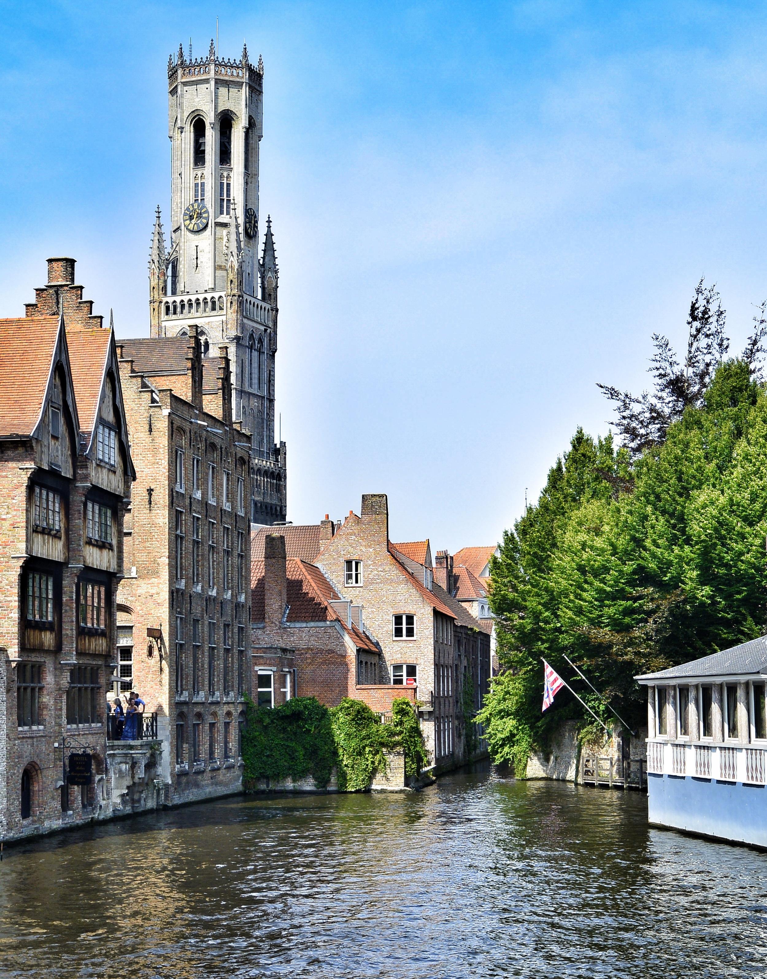 Rozenhoedkaai and Belfort Tower in Bruges