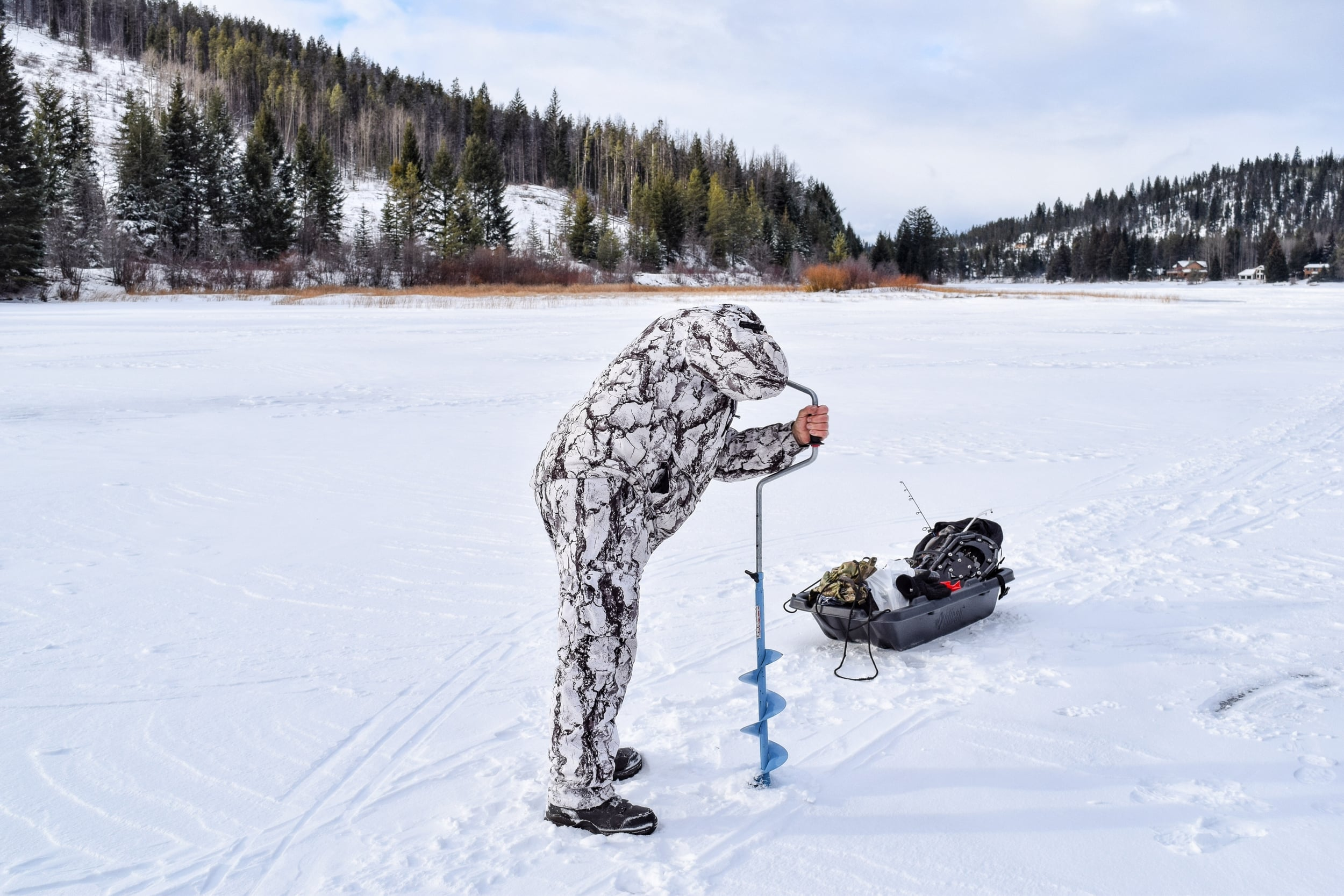 Ice fishing at Osprey Lake