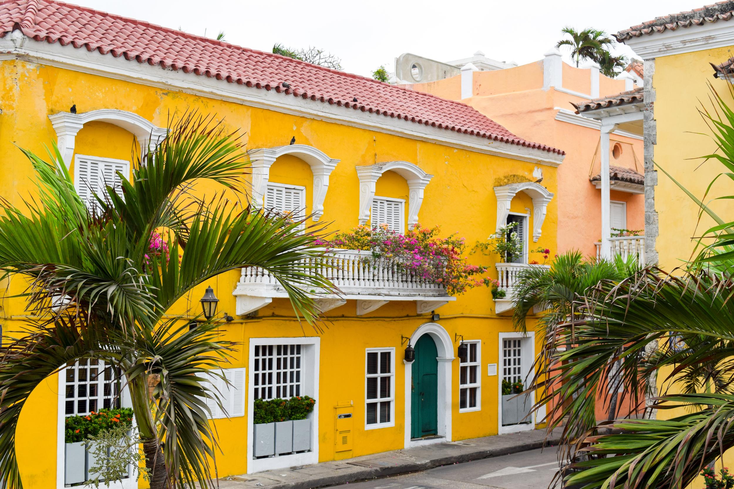 Colonial building in Cartagena