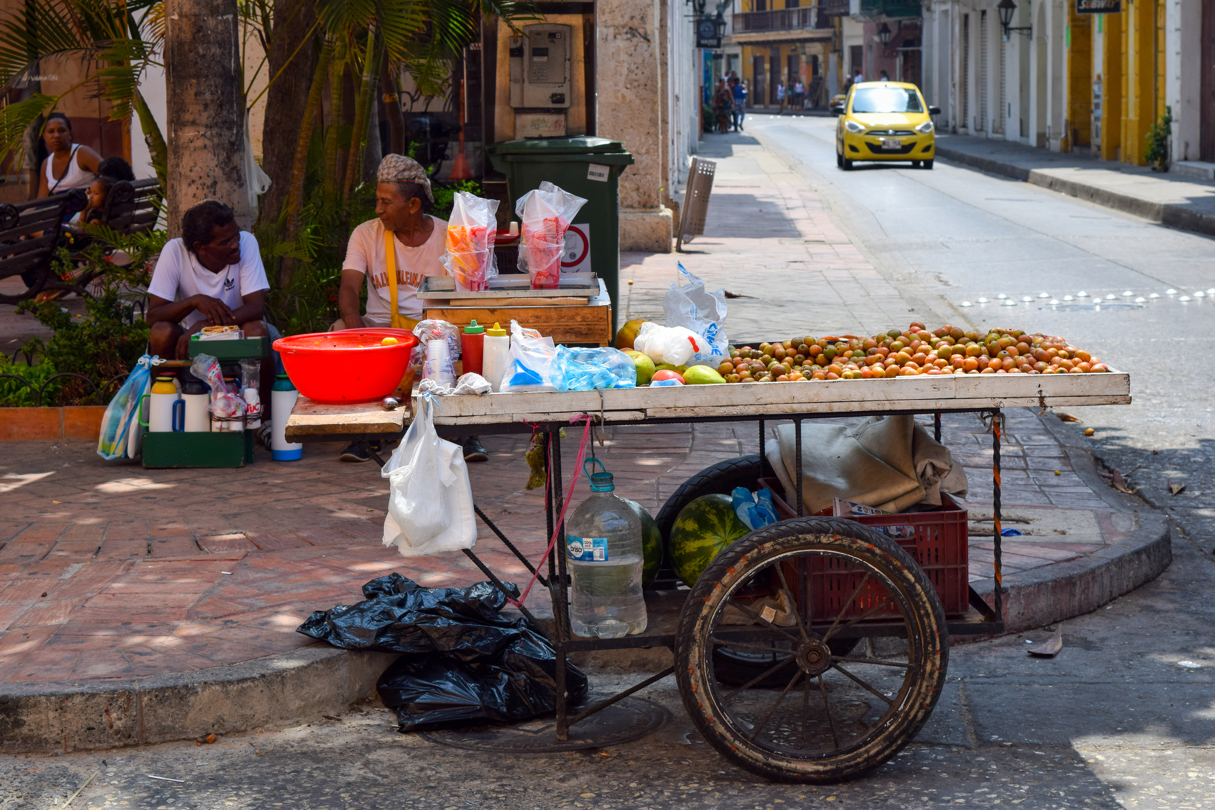 Street vendors and fruit