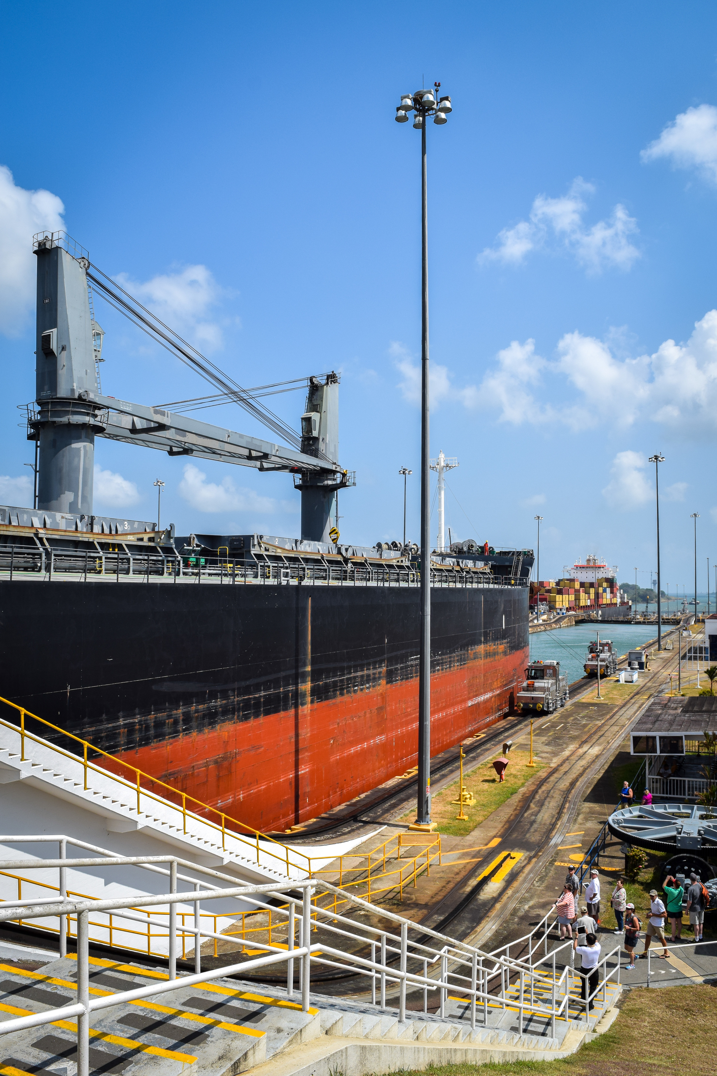 Ship transiting through the Panama Canal