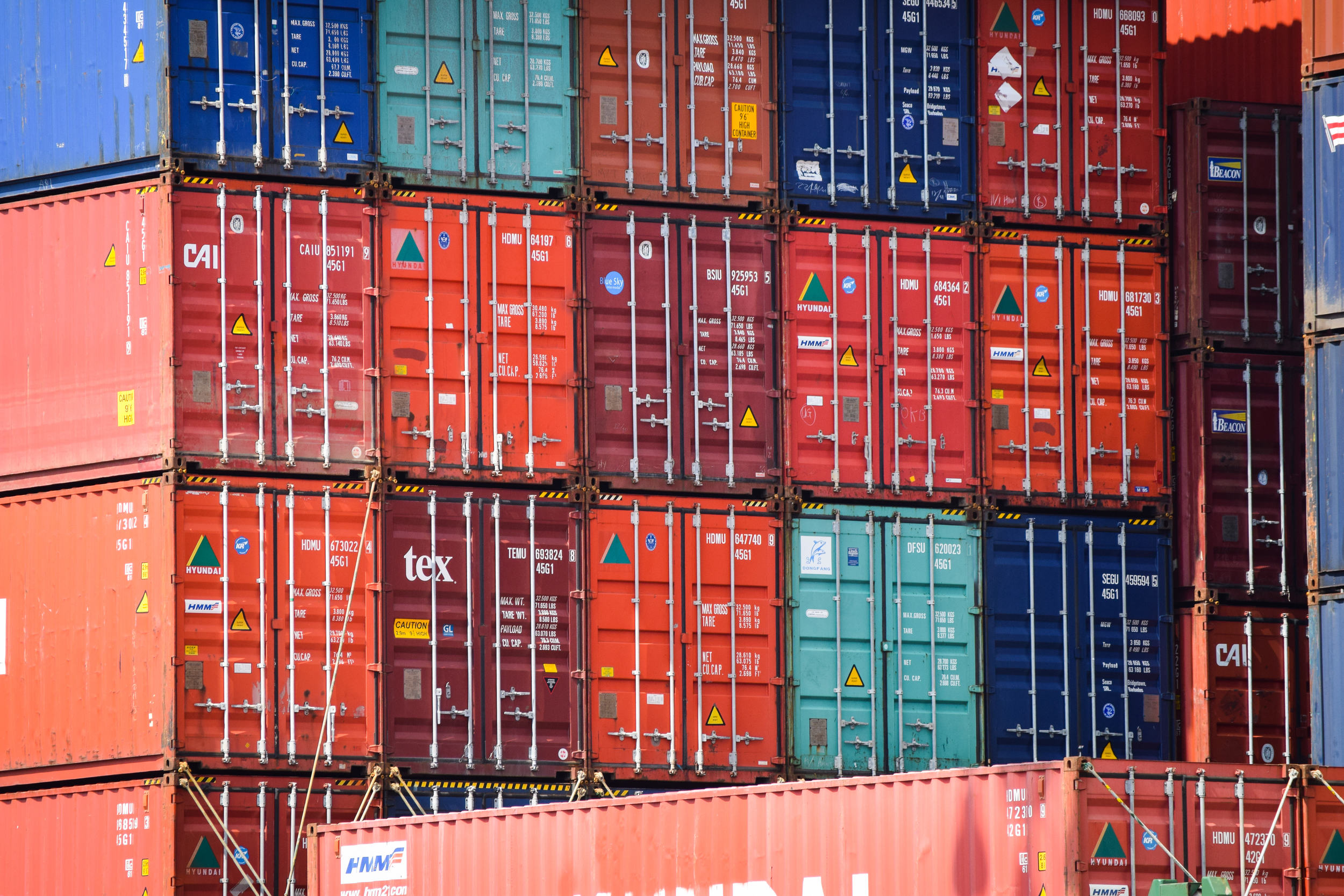 Shipping containers on a cargo vessel