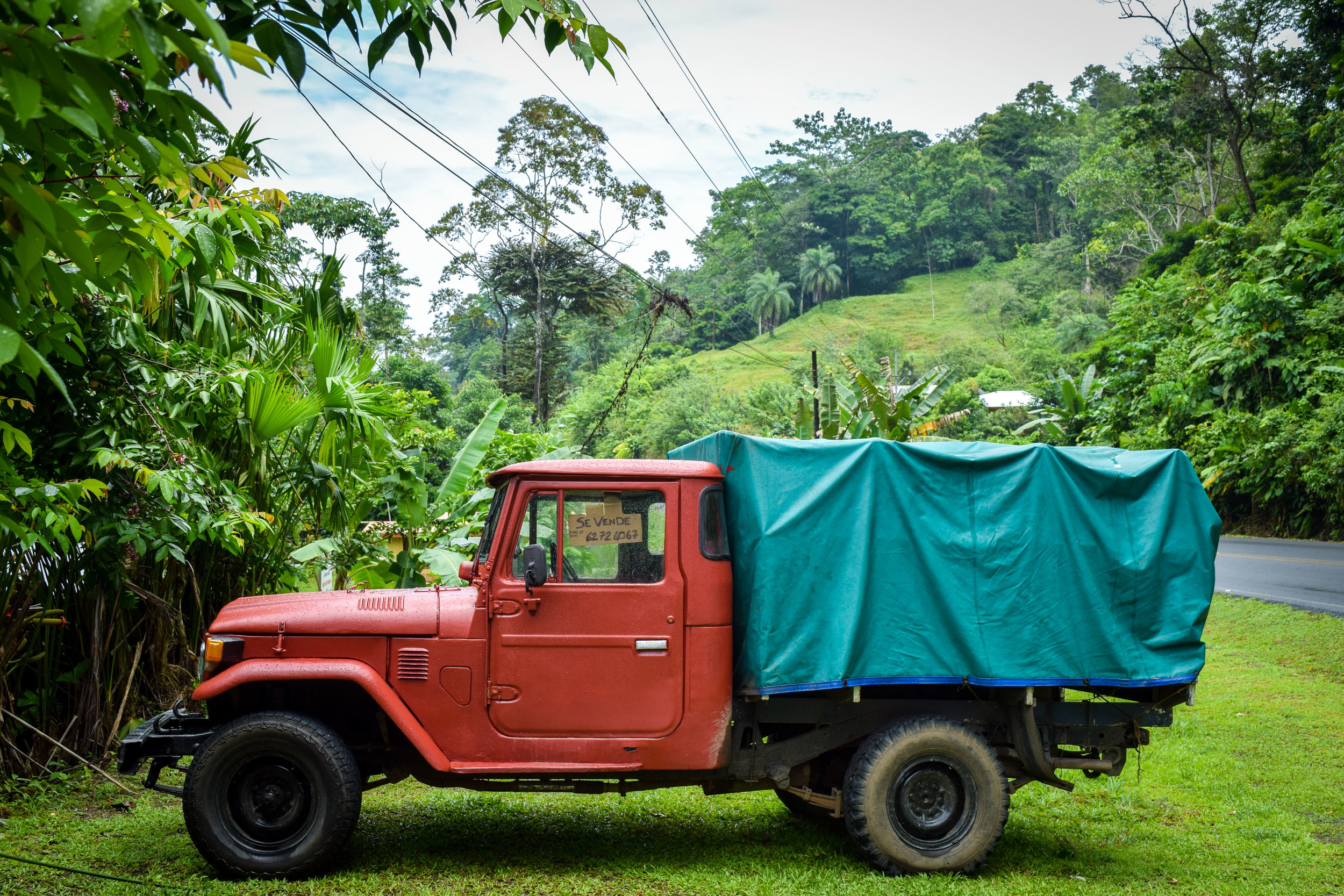 Red truck outside cacao house