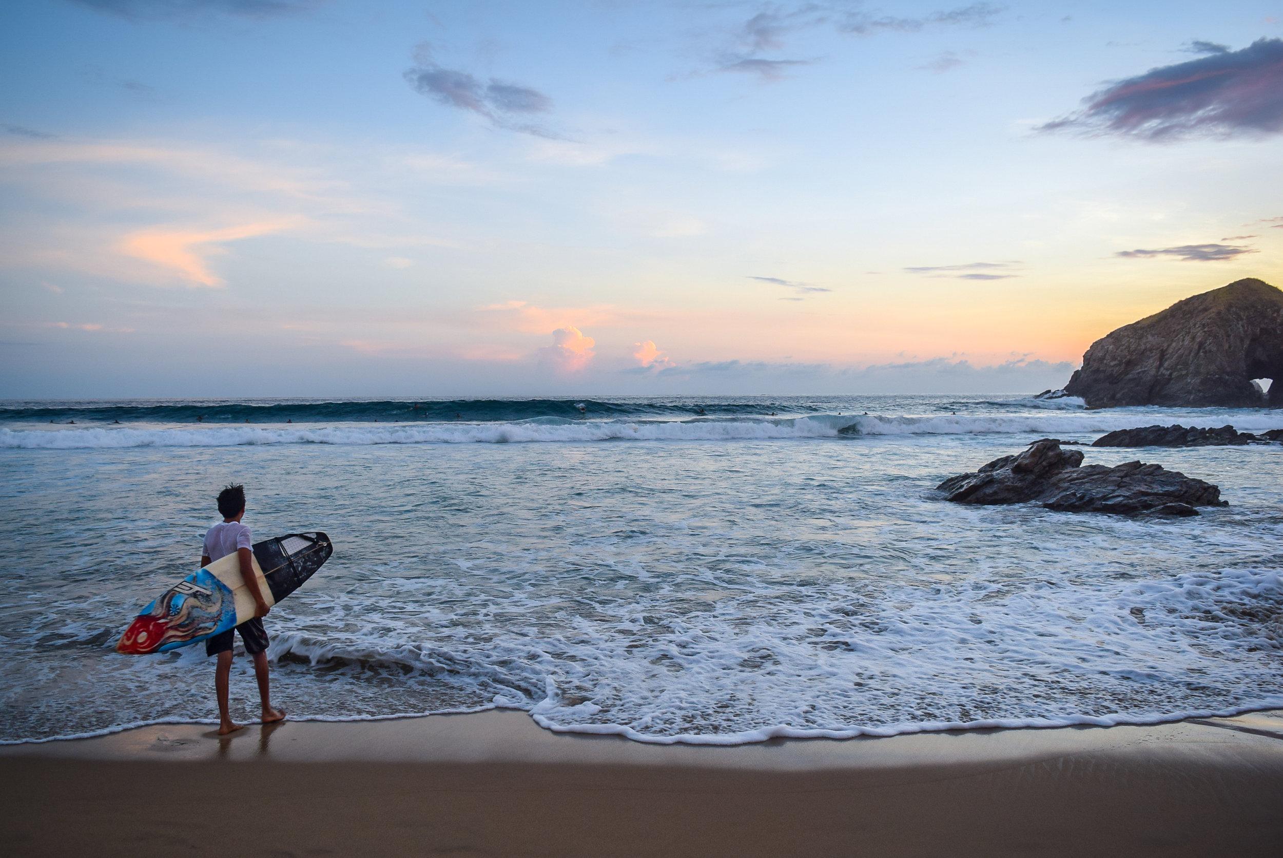 Surfer on the coast of Oaxaca