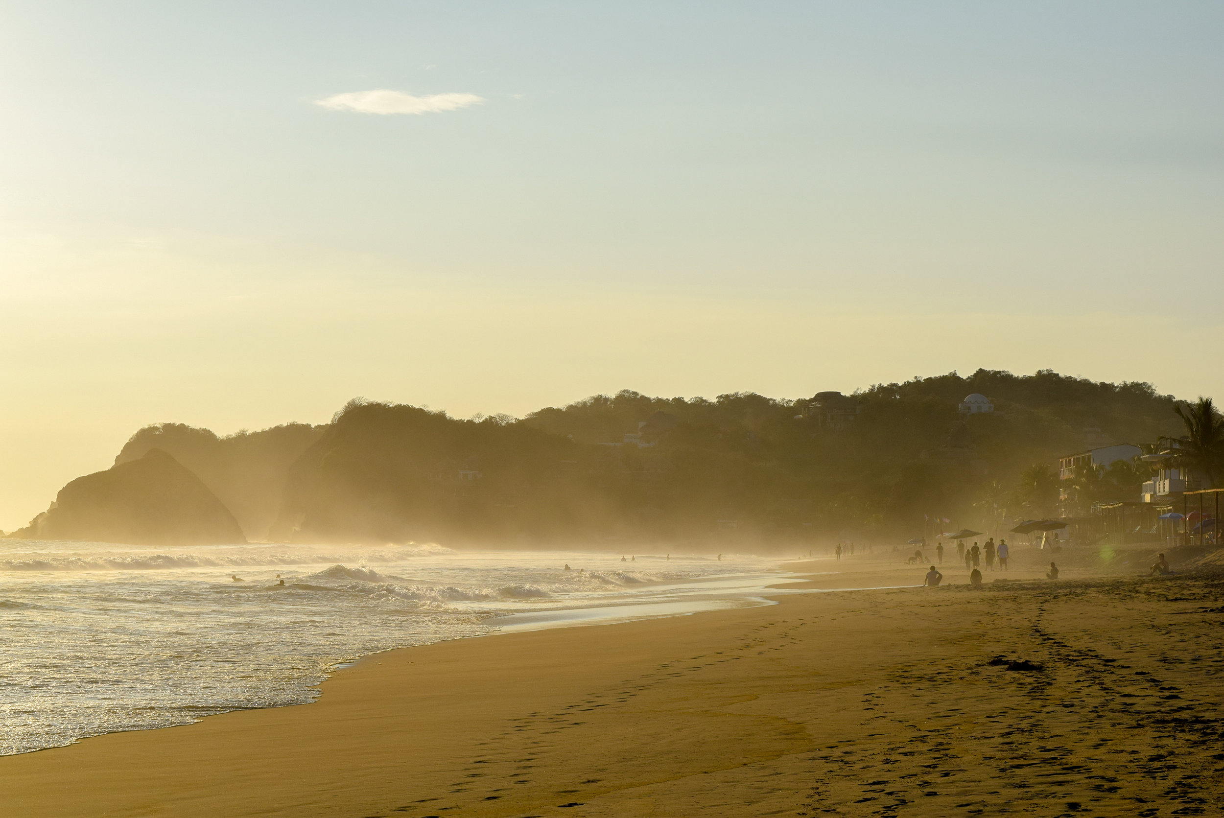 Sandy haze over Playa Zipolite
