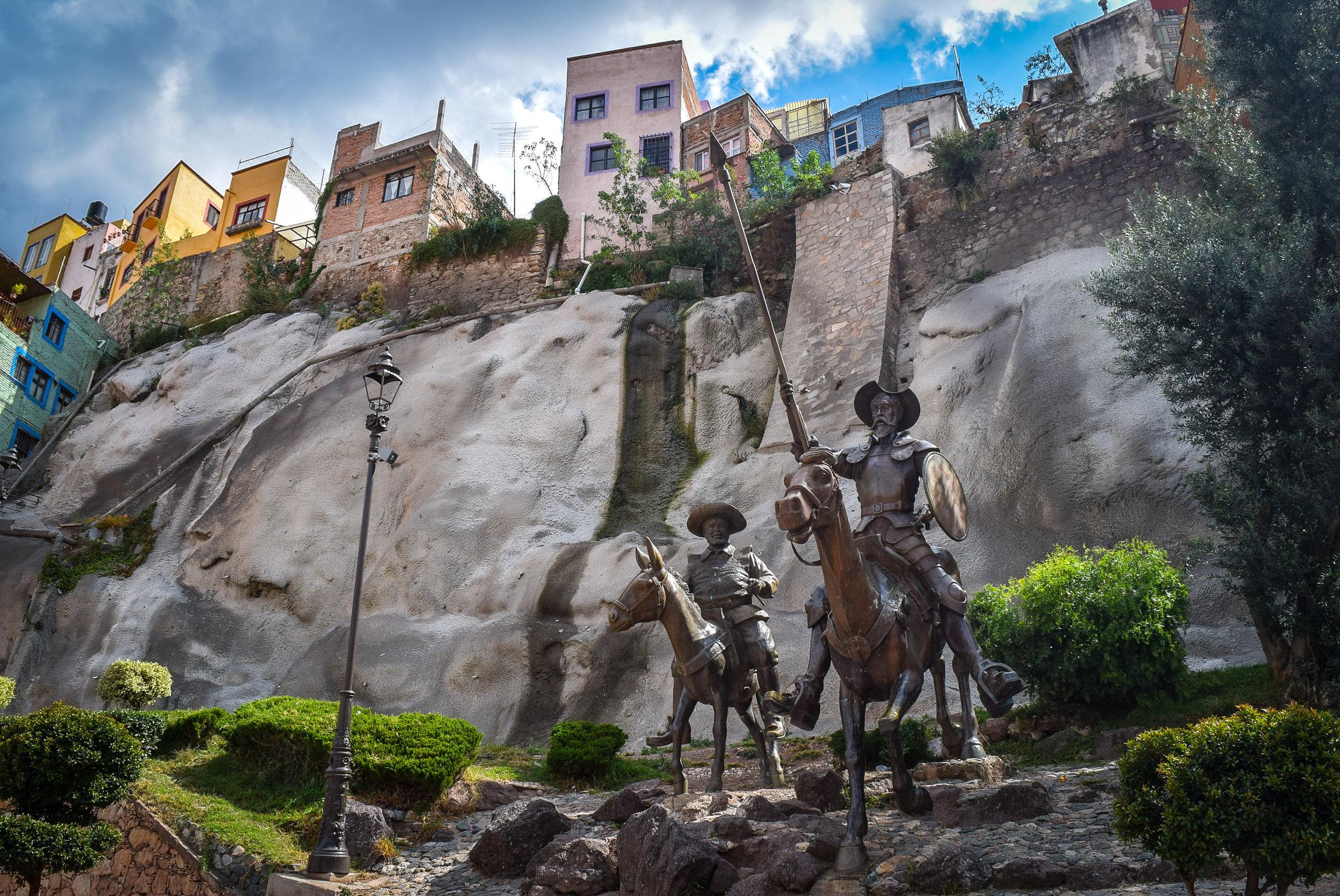 Don Quixote and Sancho Panza in Plaza Allende