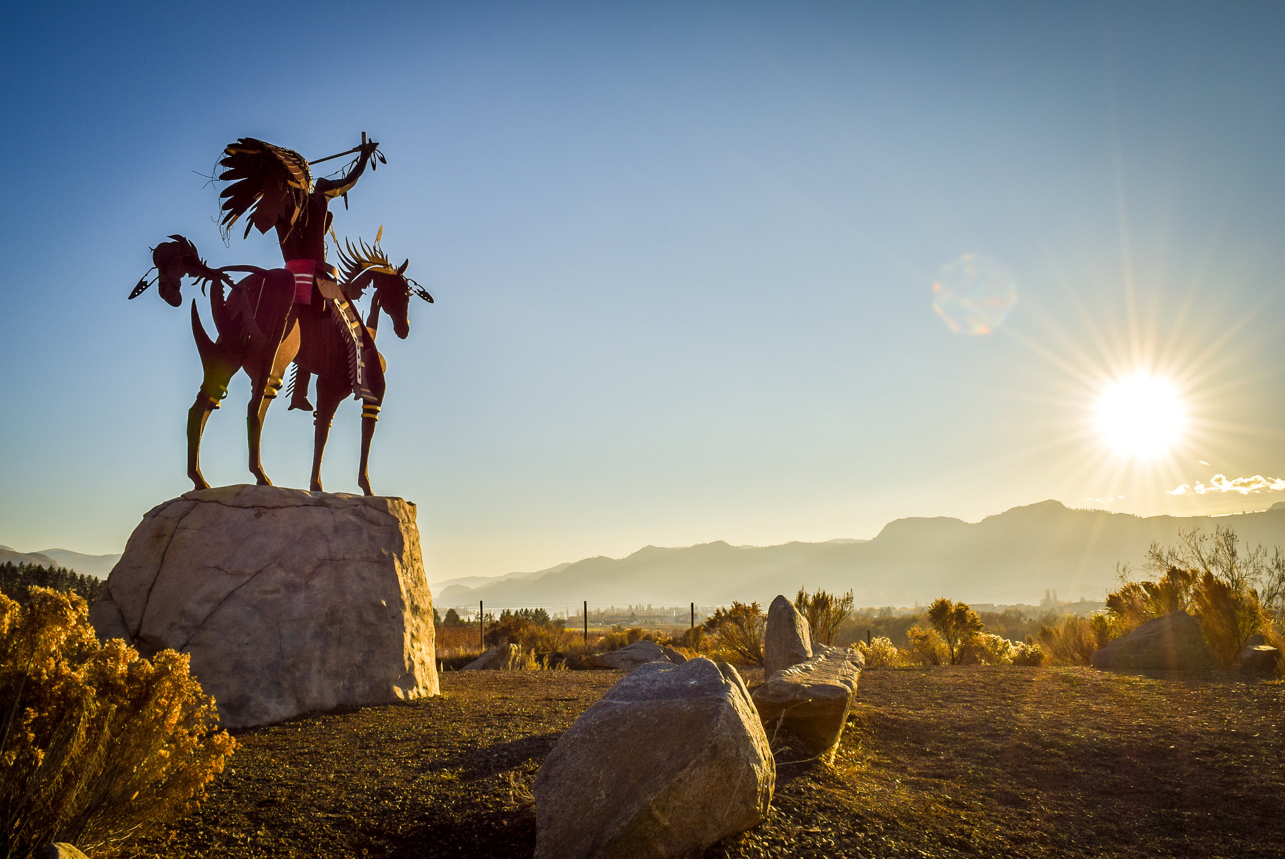 Native American statue in Osoyoos