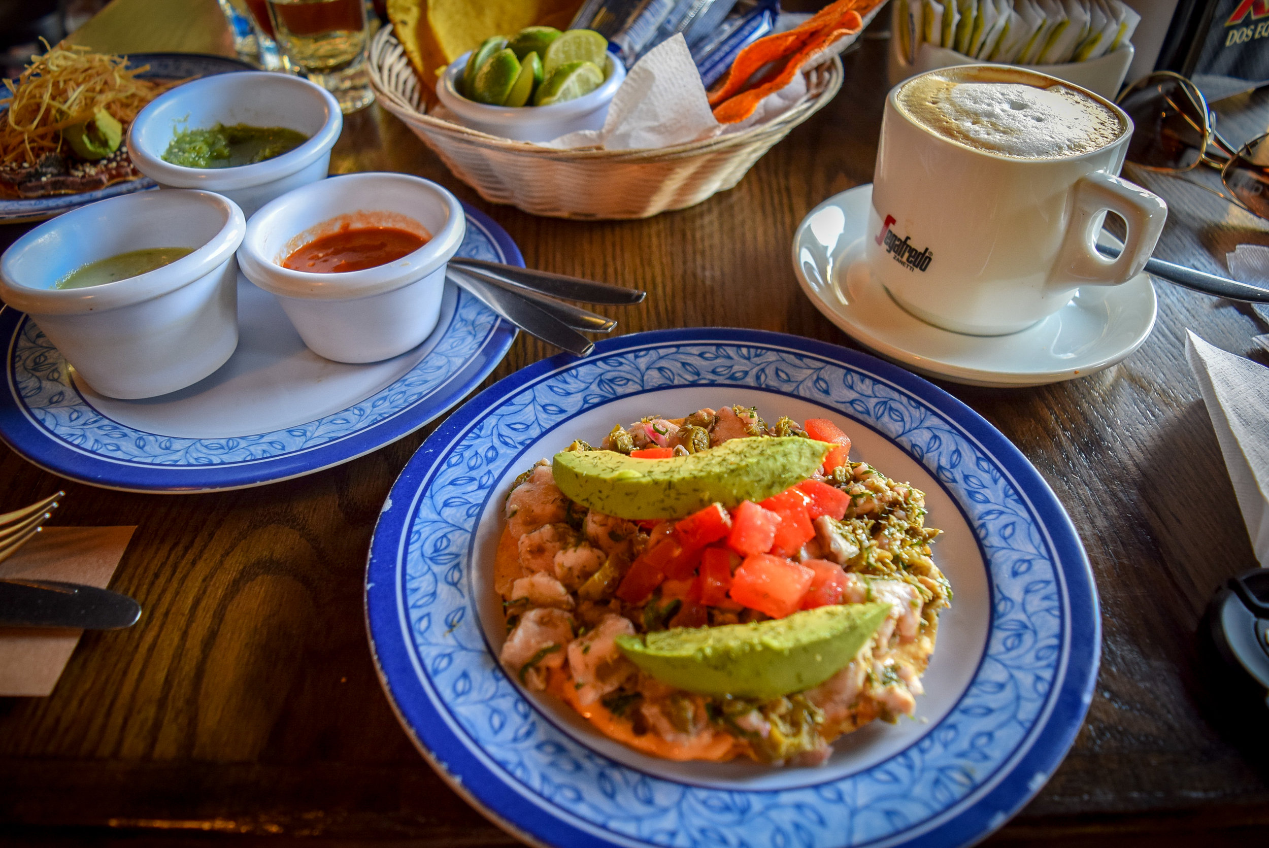 Tostada with tuna in La Cerveceria de Barrio Condesa