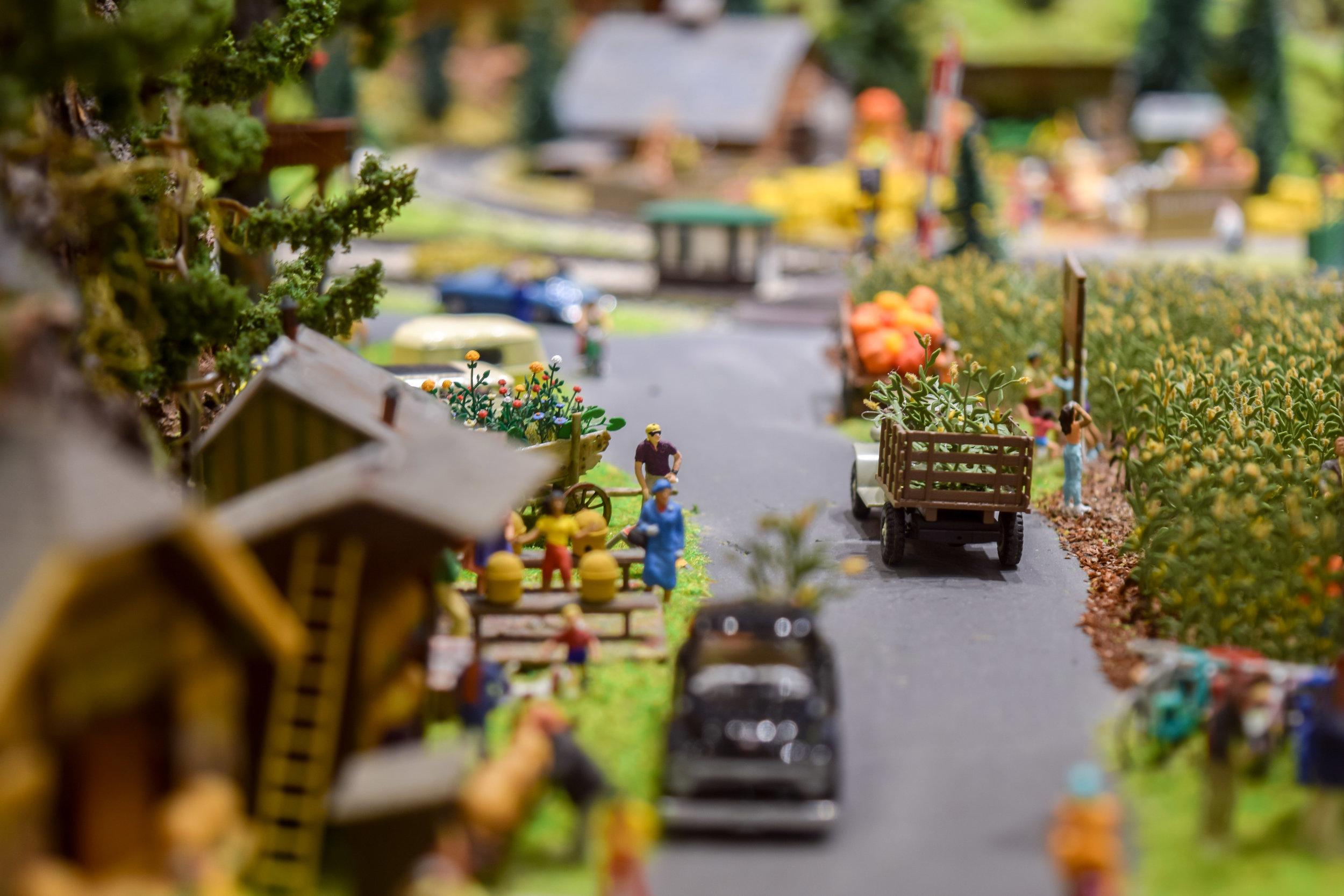 Miniature rural scene from the Desert Model Railroad