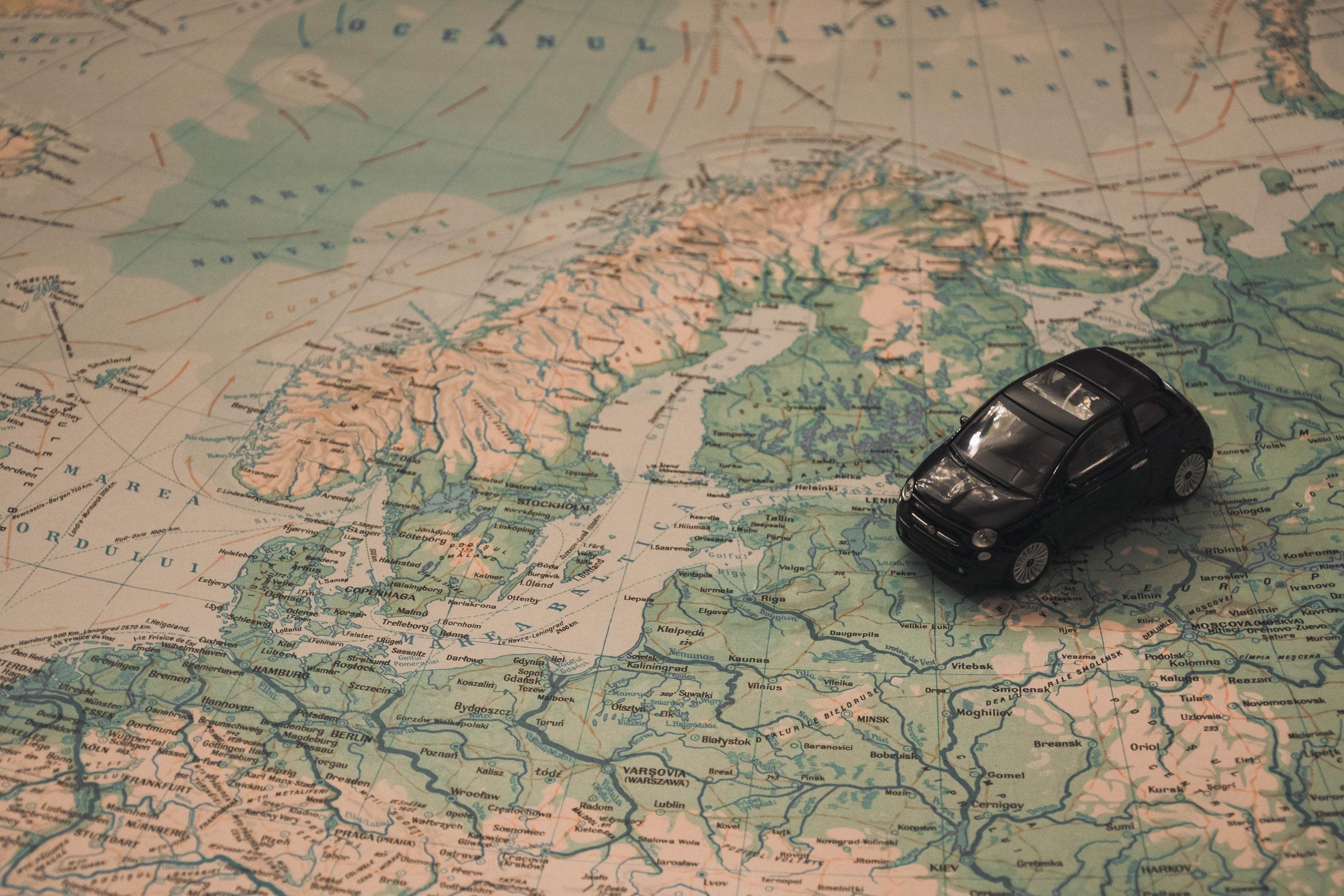 Mini car on a map