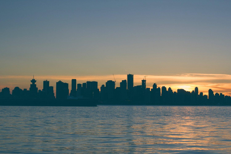Silhouette skyline of Vancouver