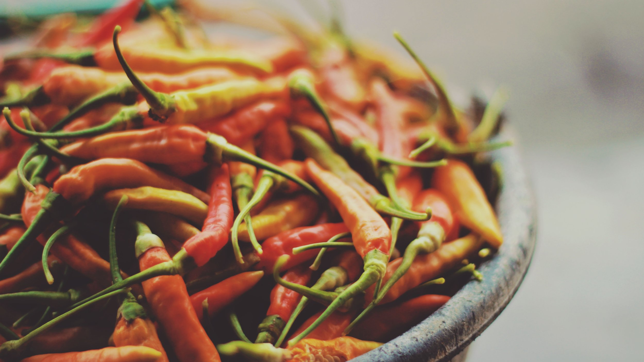Bowl of hot red peppers