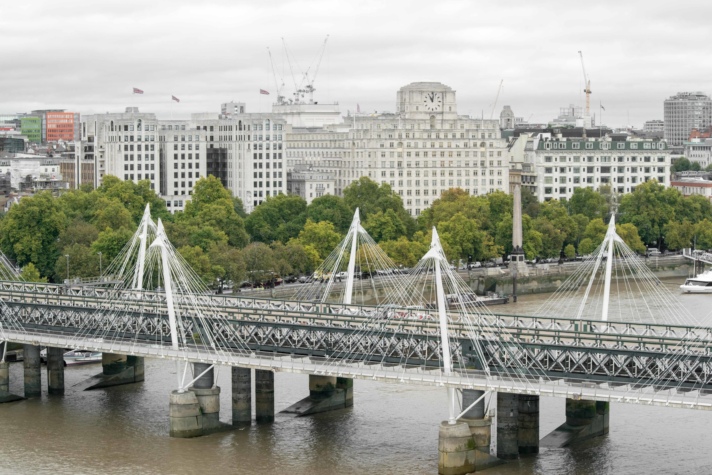 Hungerford Bridge and Golden Jubilee Bridges as seen from the London Eye