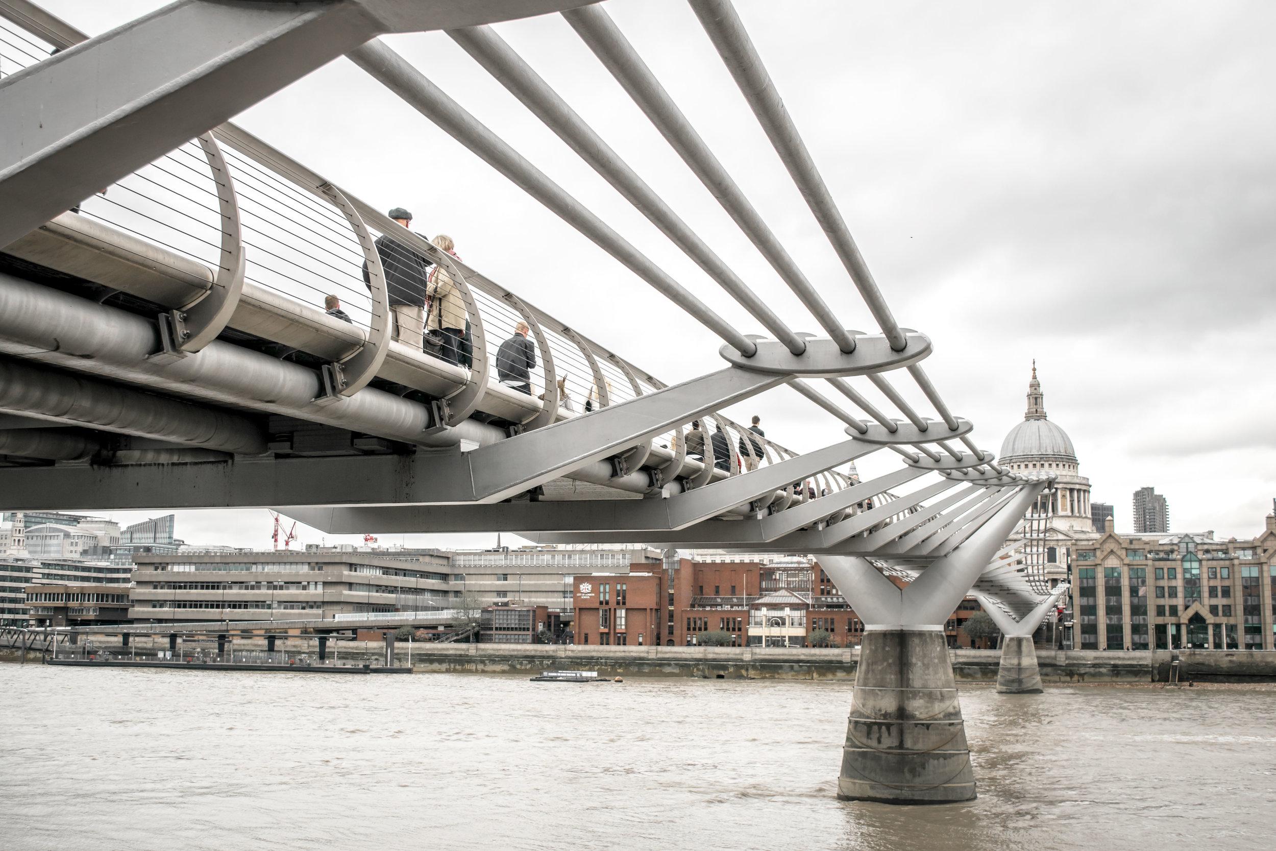 Pedestrians crossing the Millennium Bridge
