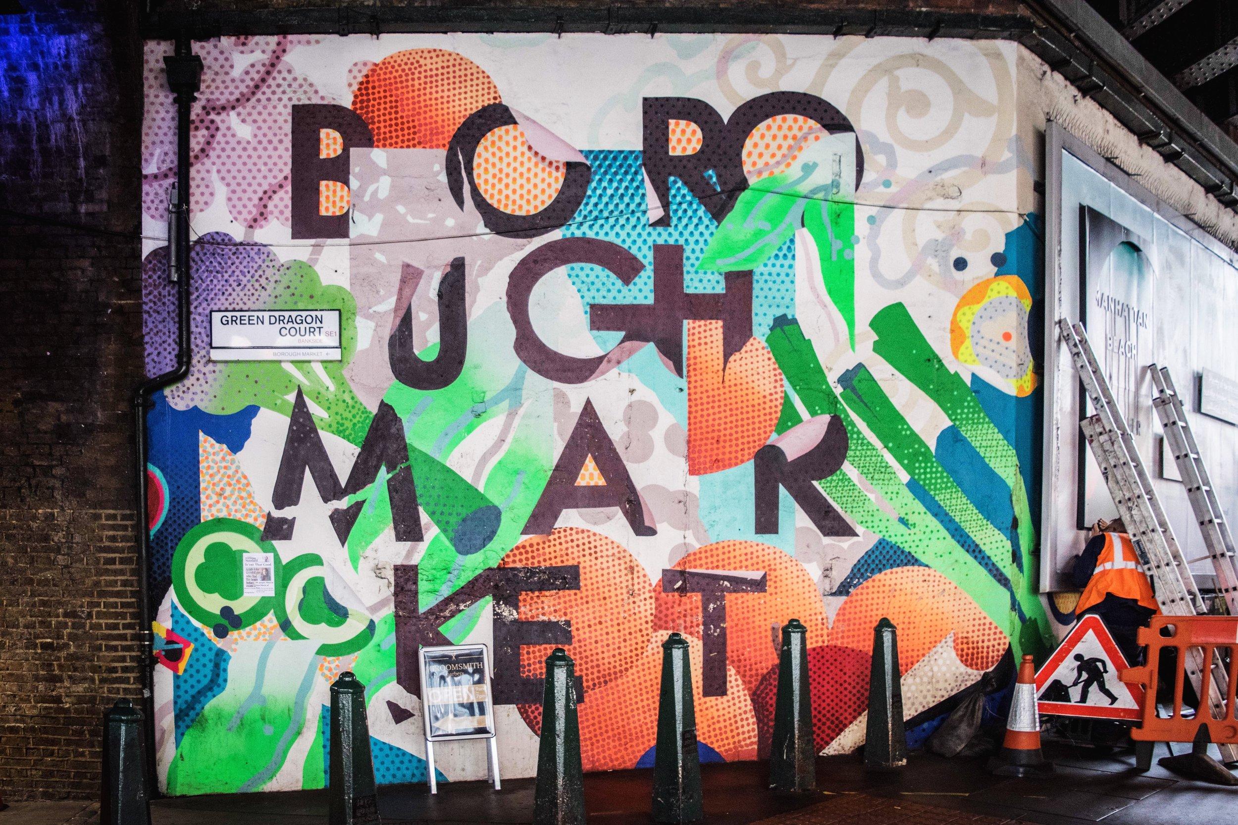 Colorful Borough Market sign