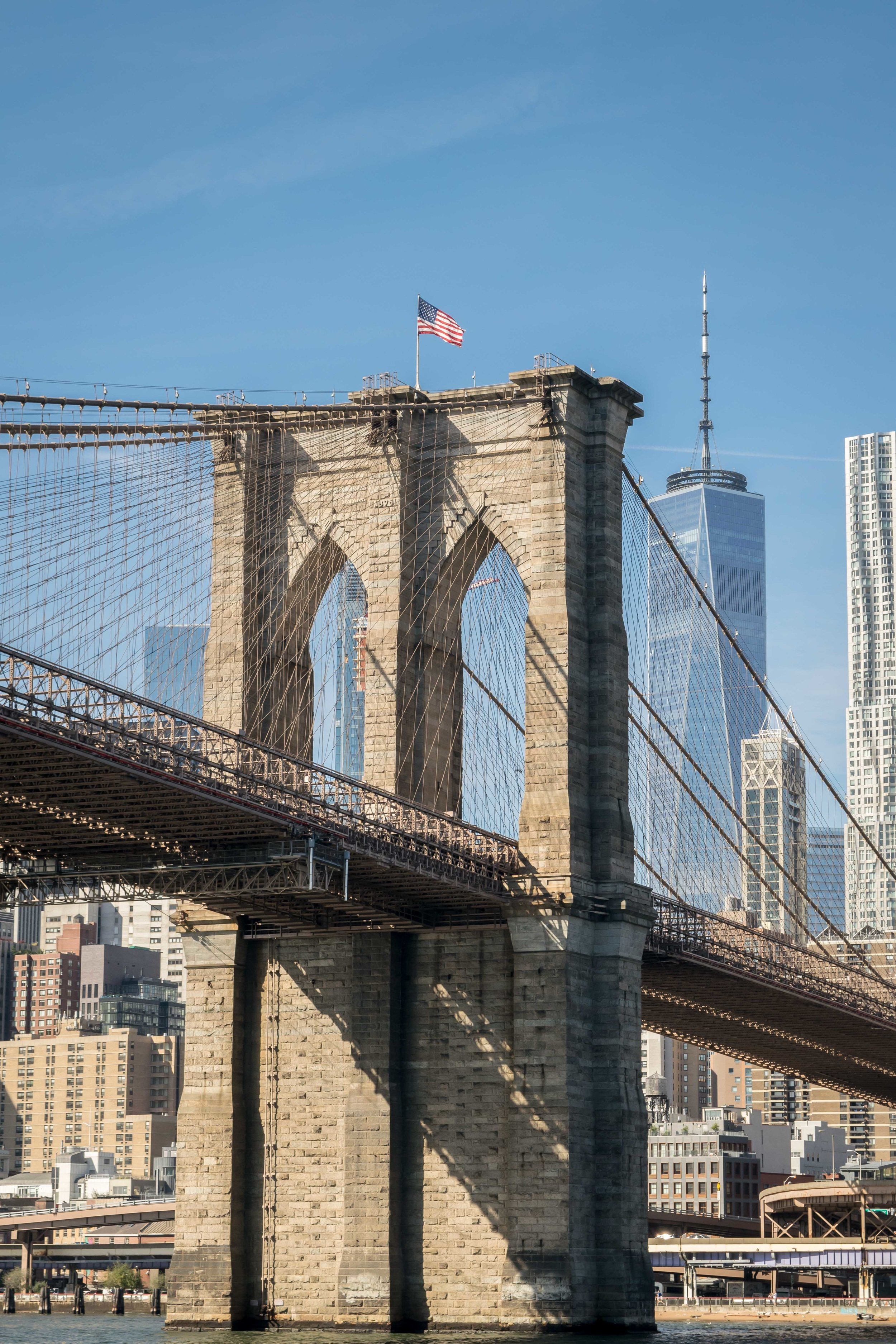 Brooklyn Bridge and One World Trade Center