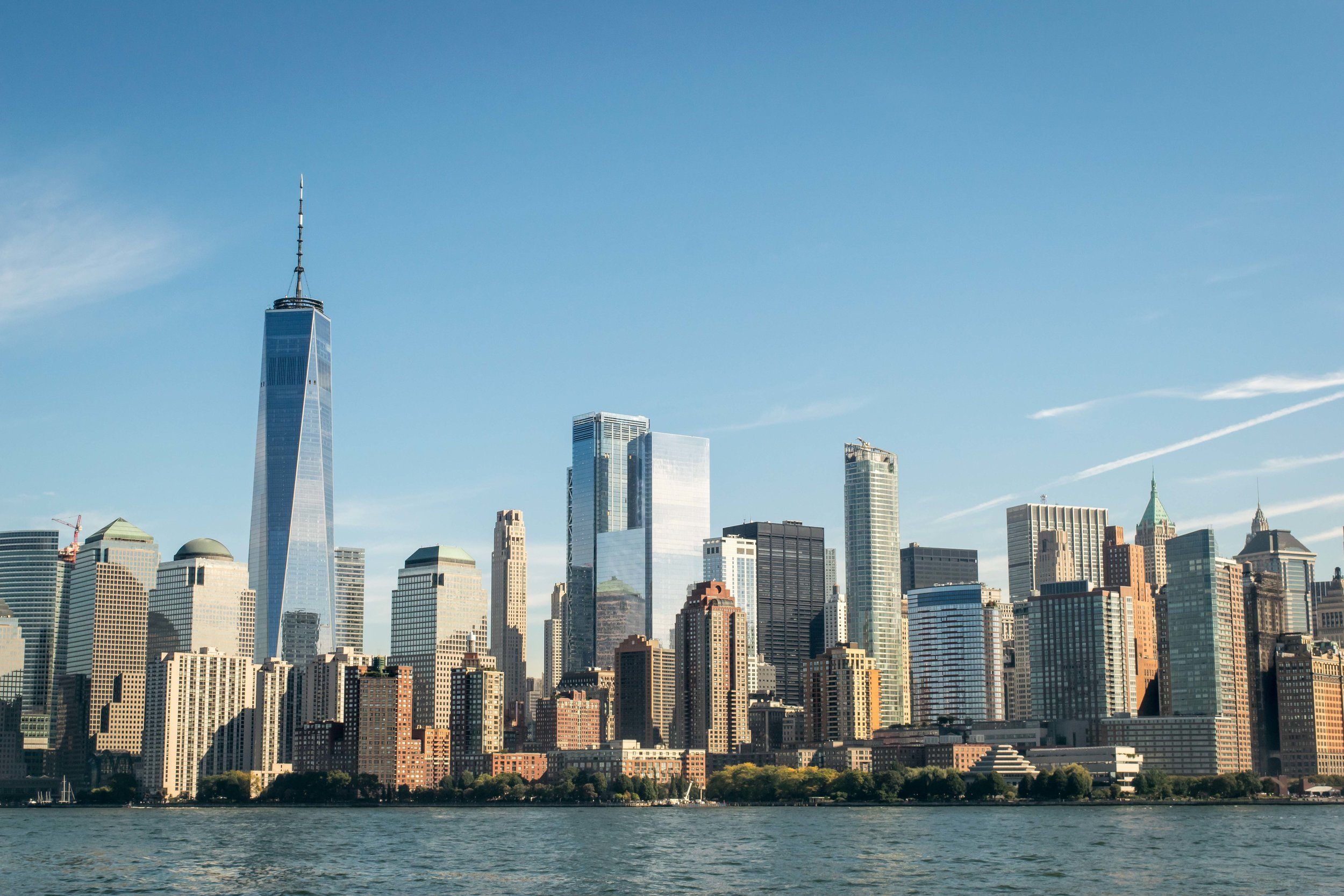 View of Lower Manhattan Skyline including One World Trade Center