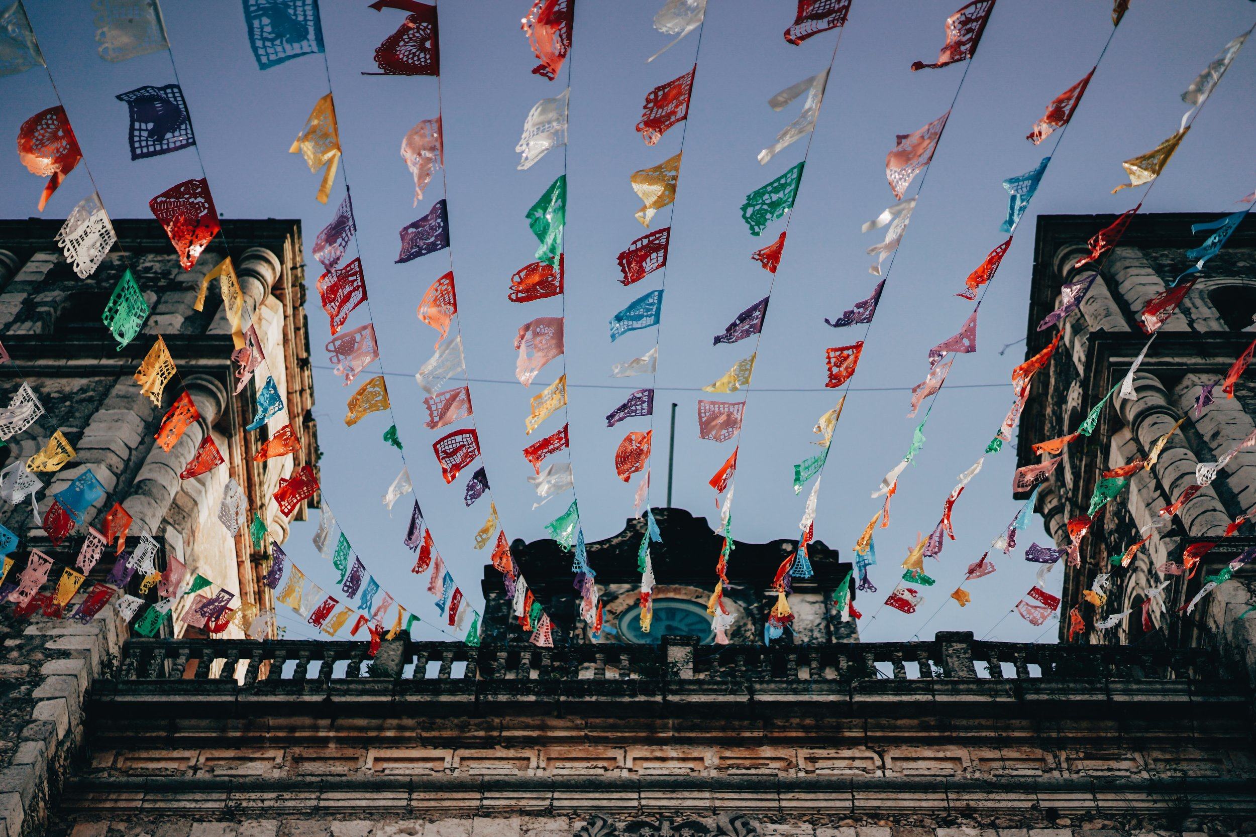 Colorful Mexican flags