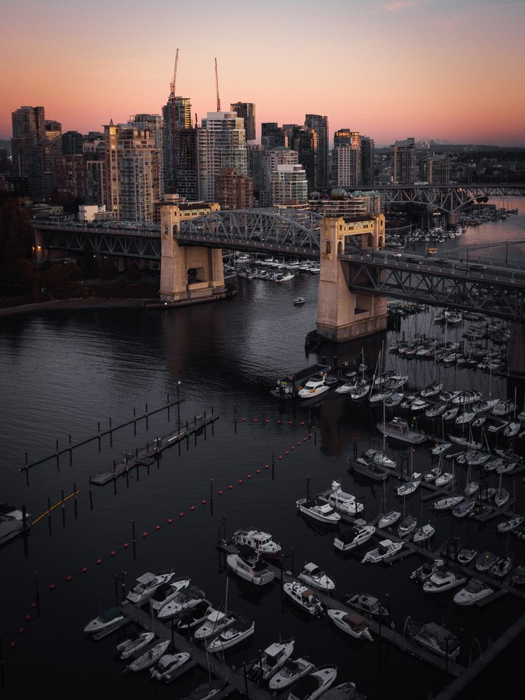 Burrard Street Bridge and downtown Vancouver