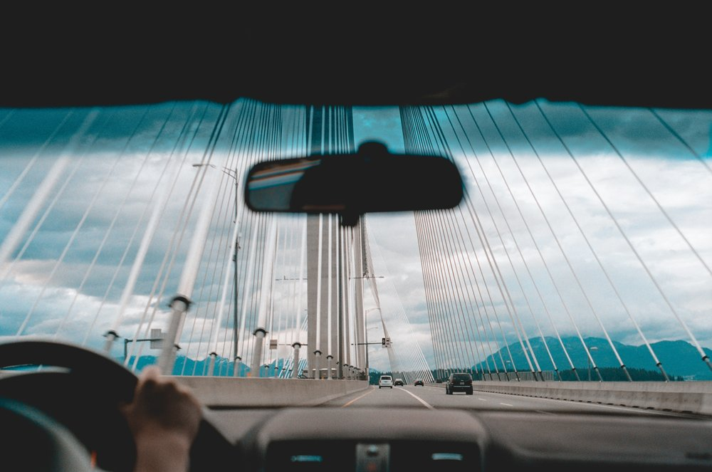 Driving across the Port Mann Bridge