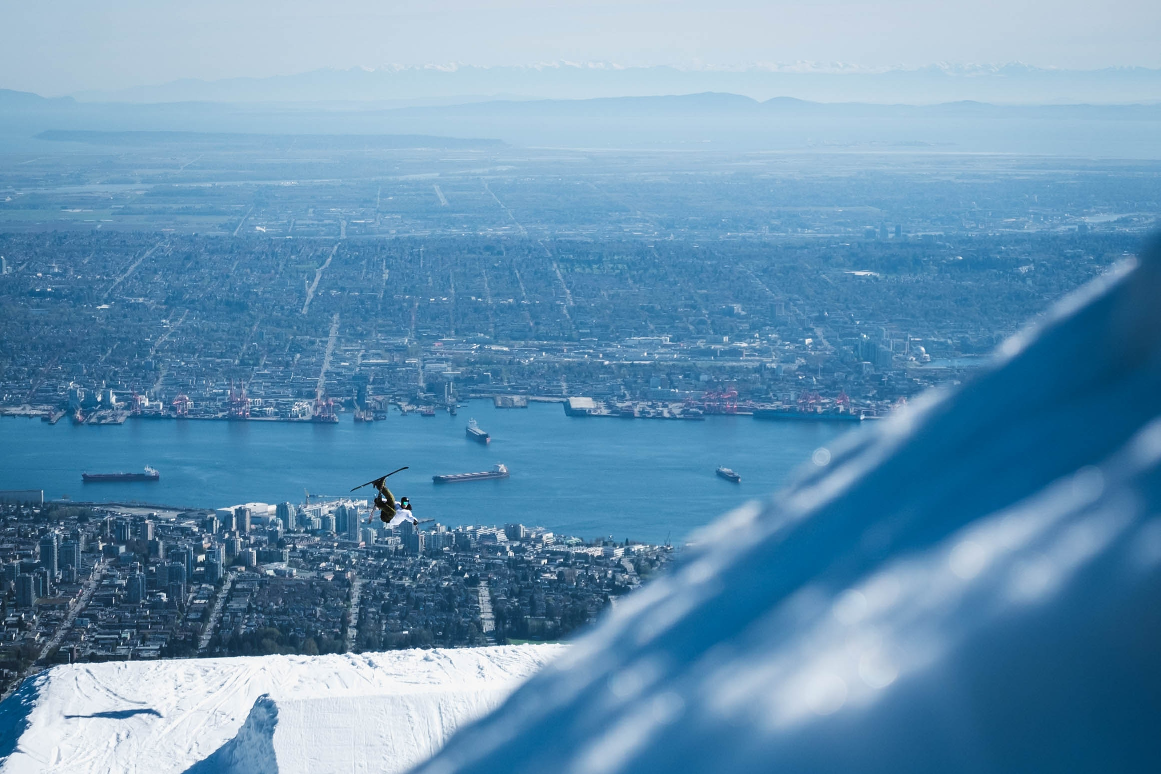 Skiing at Grouse Mountain above Vancouver