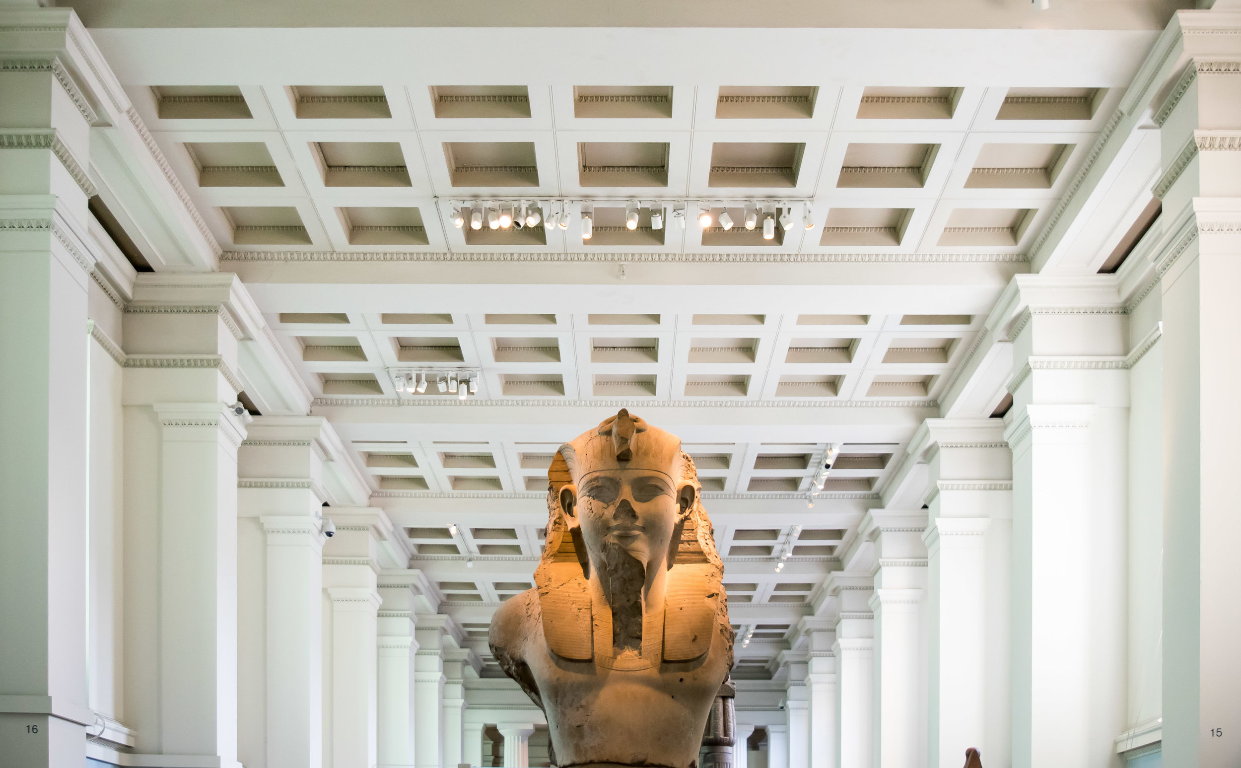 Stone bust of a Pharaoh in the Egyptian Sculpture Gallery of the British Museum