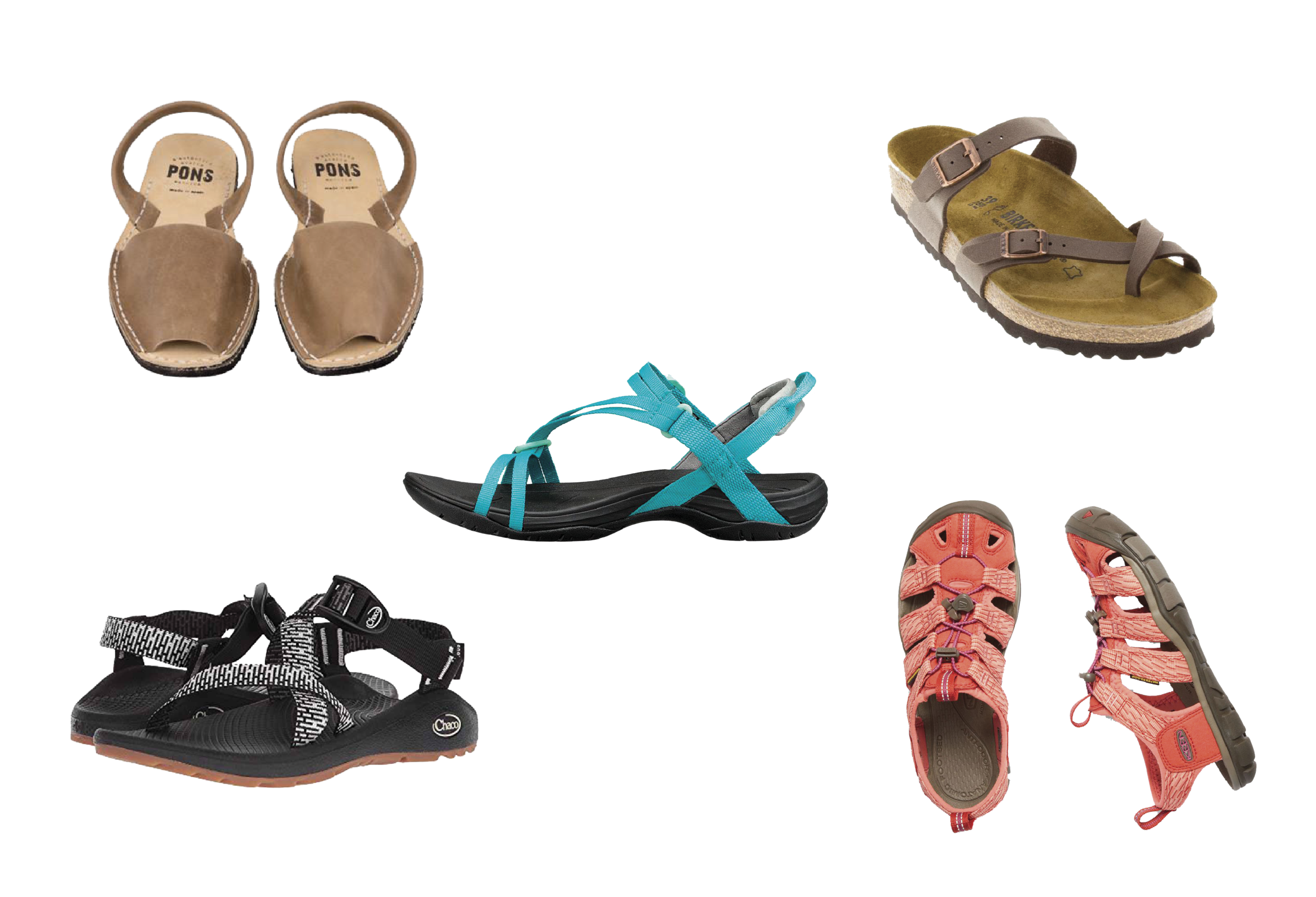 Travel Sandal options - Pons Avarcas, Birkenstock, Chaco, Teva, and Keen