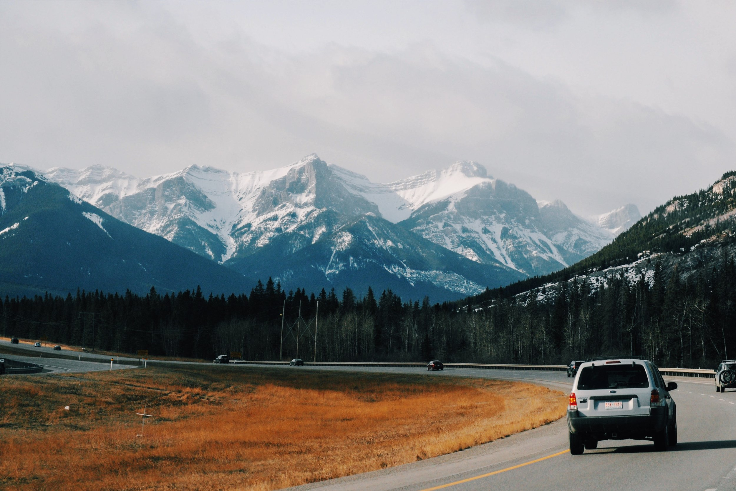 Driving the highway in the Canadian Rockies