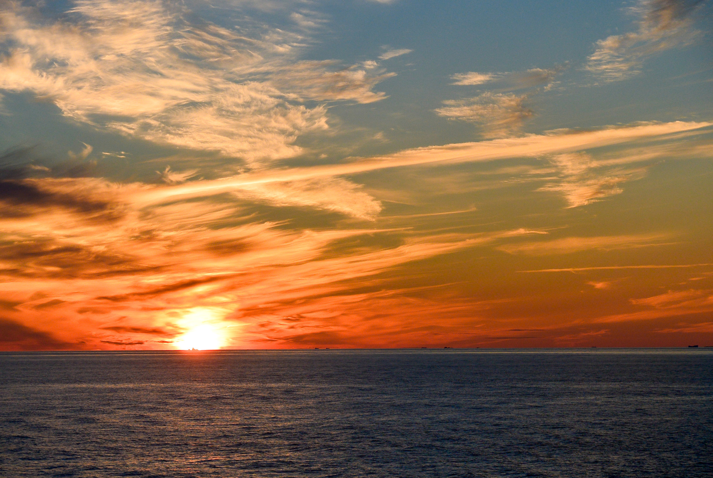 Red sunset off the coast of Greenland