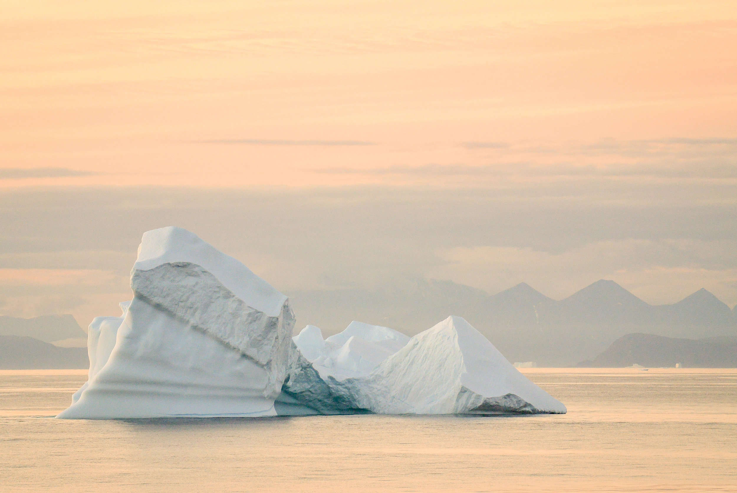 Giant iceberg at sunset