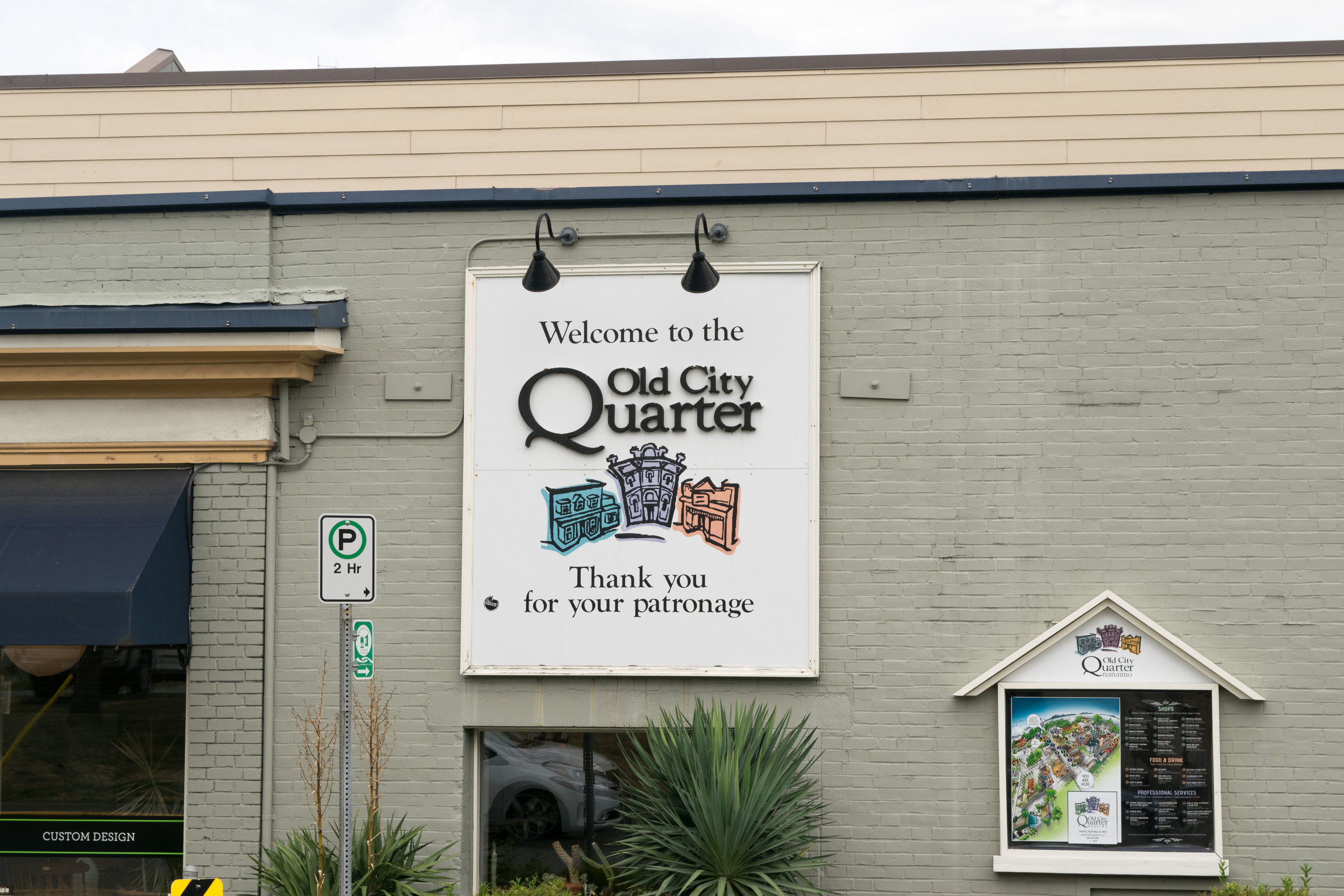 Welcome to the Old City Quarter sign, Nanaimo