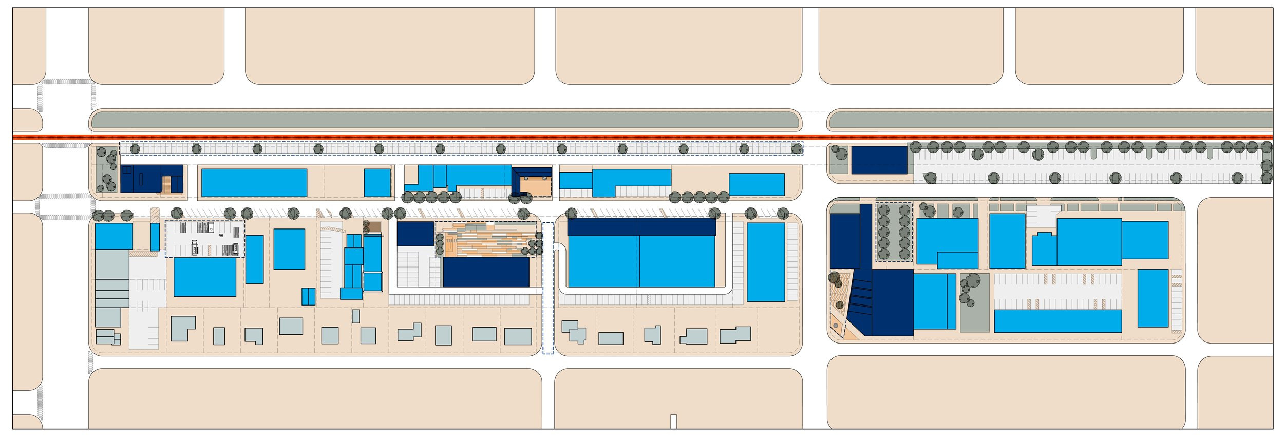 Proposed Plan (new buildings in navy blue)