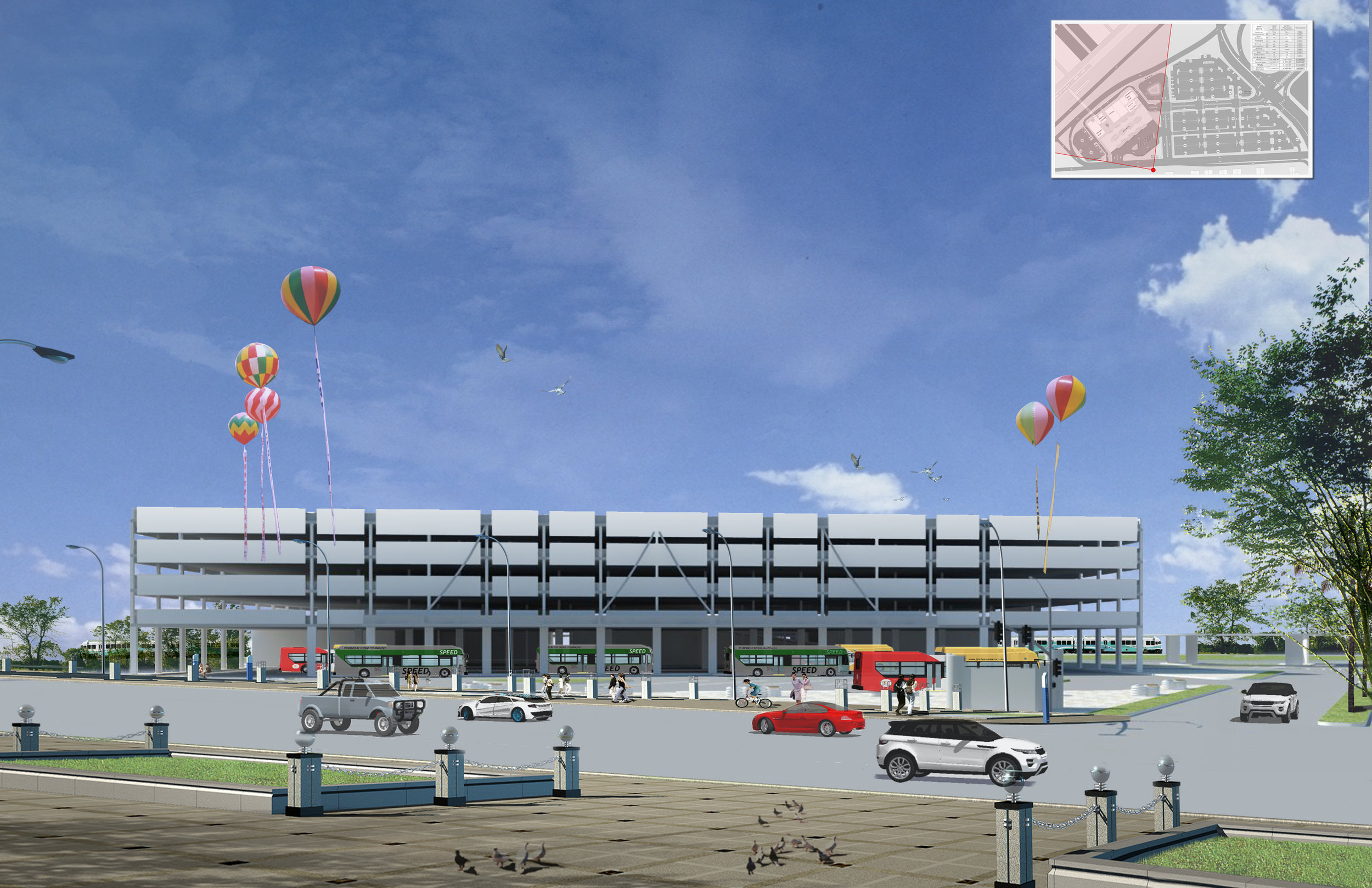 New Parking Facility (with ground floor retail and bus depot)