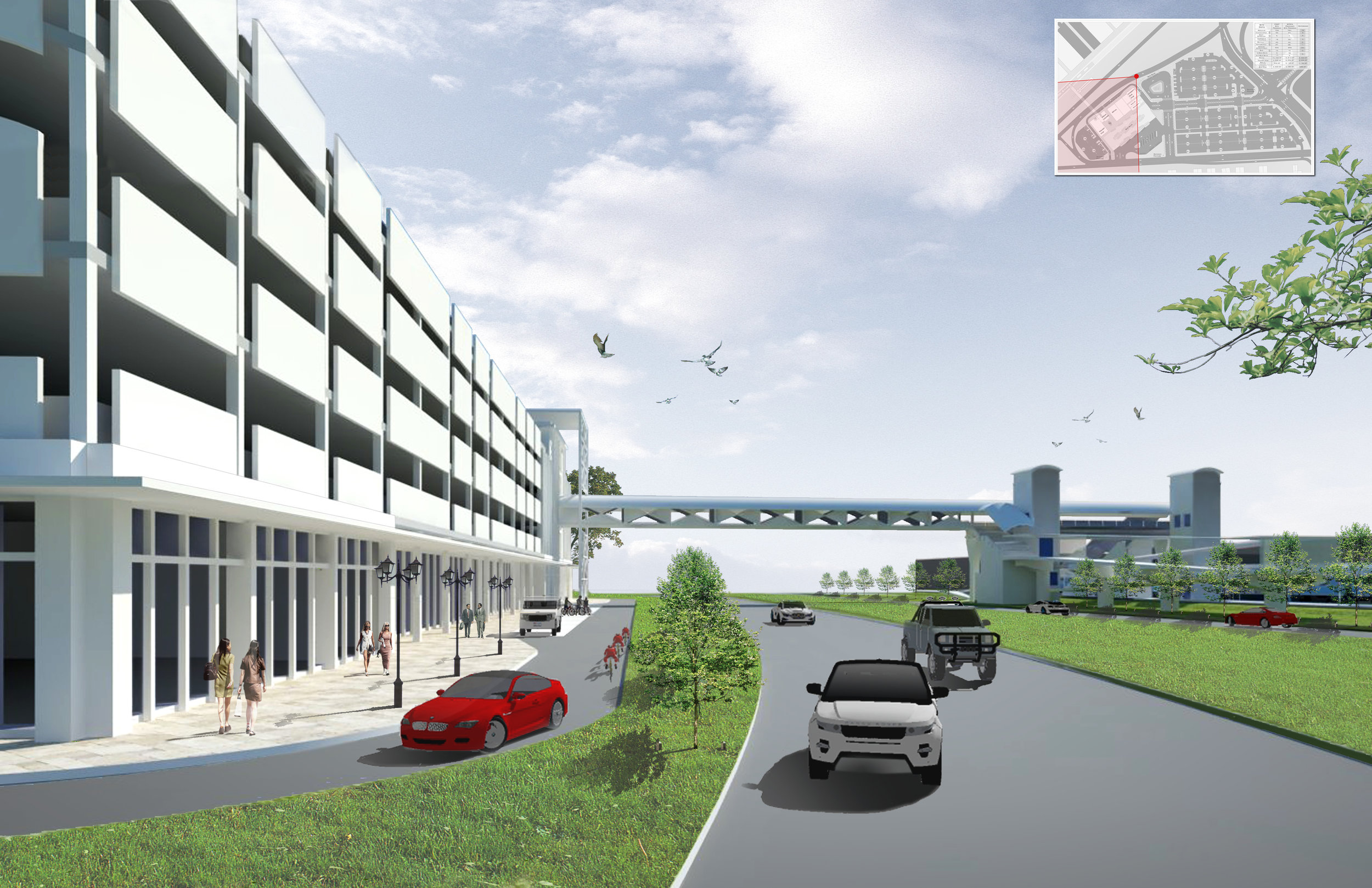 Ground Floor Retail in Parking Facility (pedestrain link and station beyond)