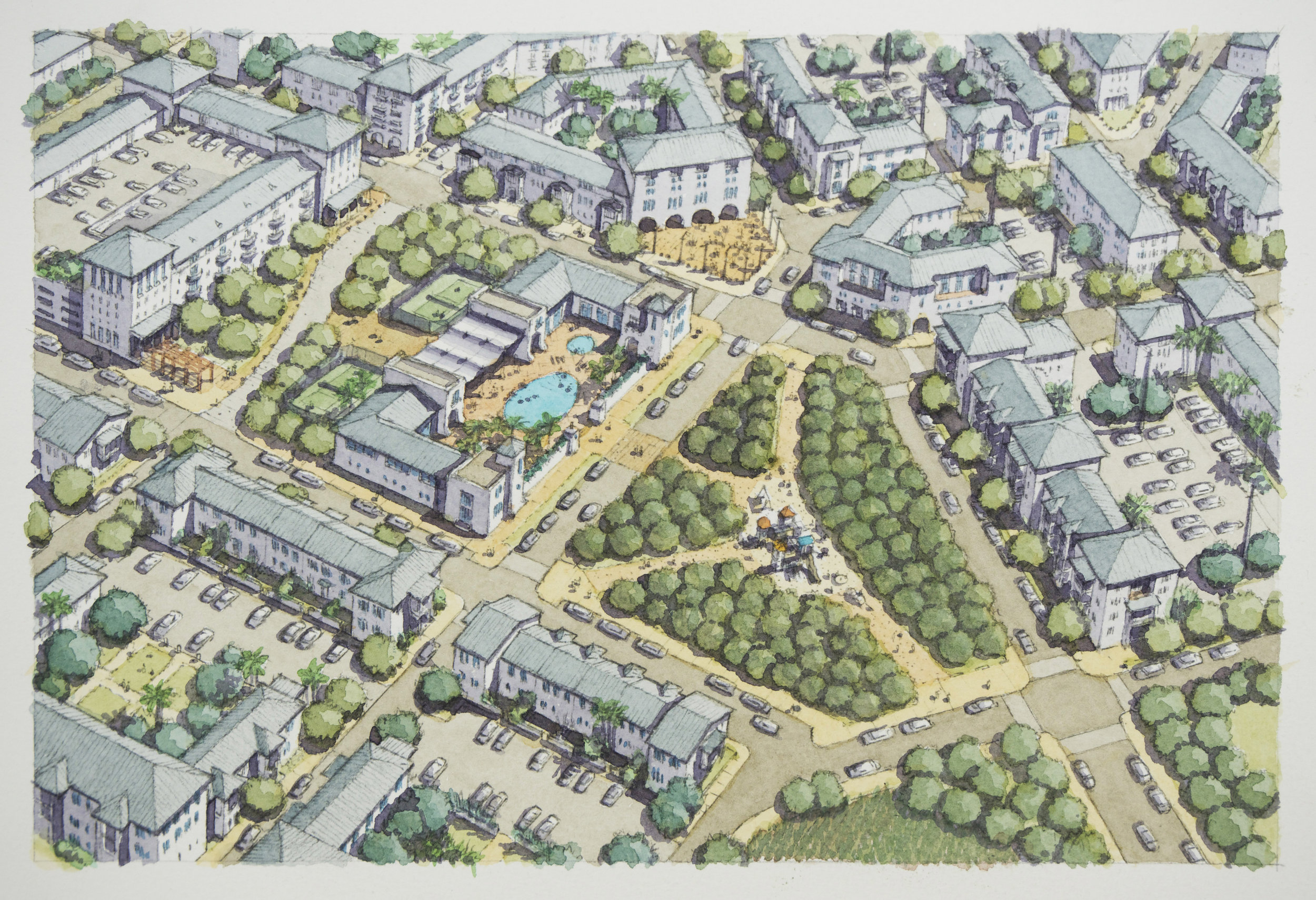 Aerial View of Neighborhood Center and Clubhouse (rendered by Chris Ritter and Eusebio Azcue)