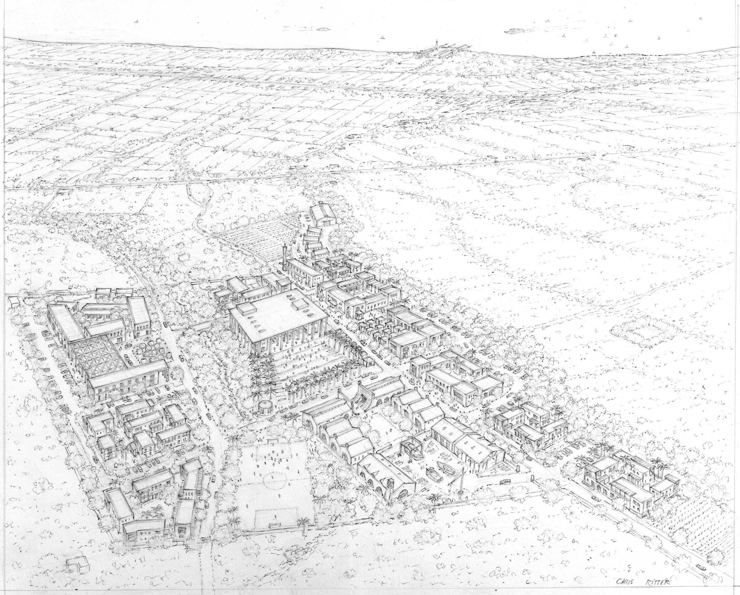 Aerial View of SVLC (drawing by Chris Ritter)