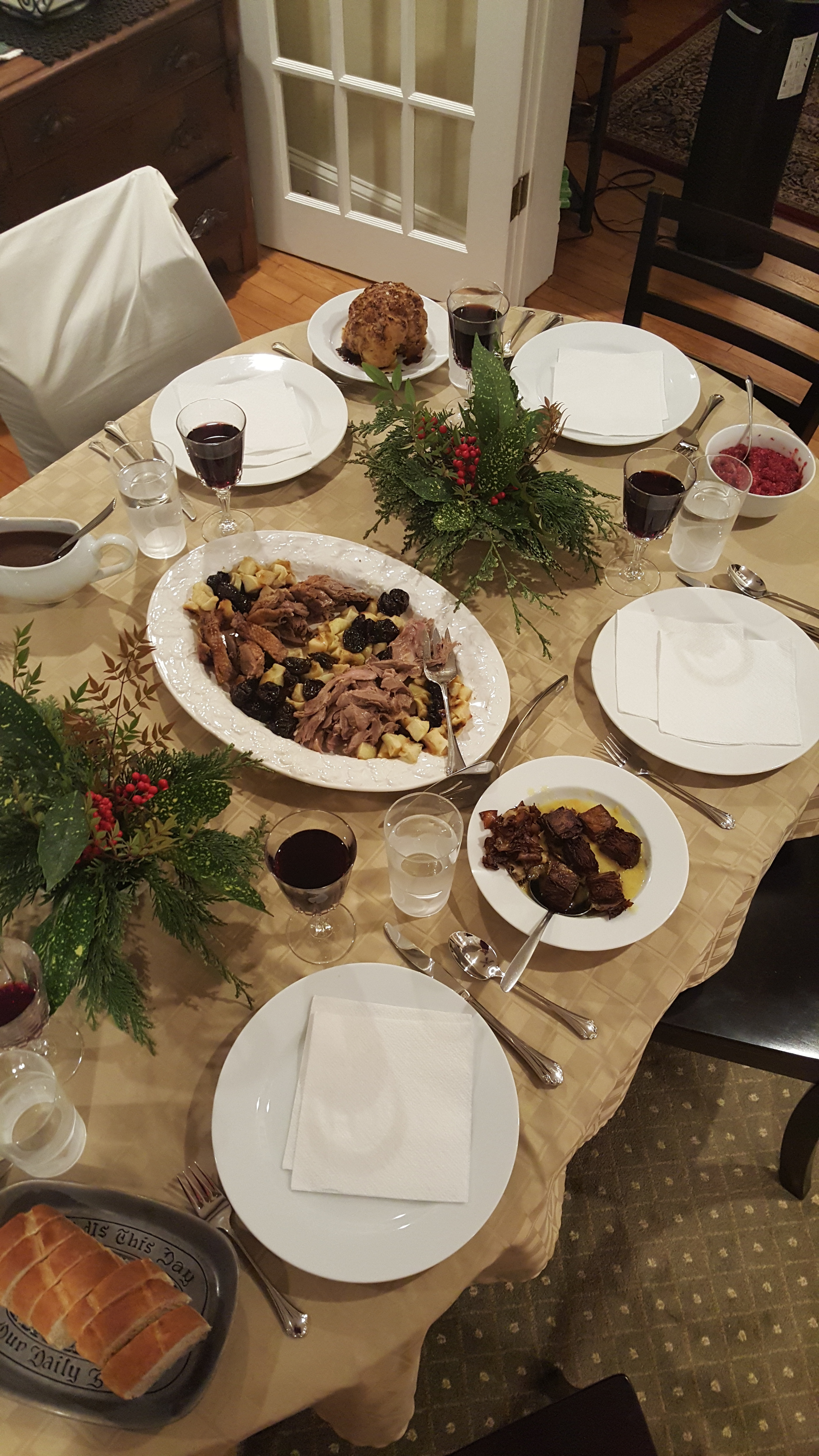 My family's Christmas dinner: Goose with apple &prune garnish w/ Port gravy, sweet and sour cauliflower, seared cubes of mushroom mille-fuille, mashed potatoes, cranberry sauce, and baguette. Stuffed.