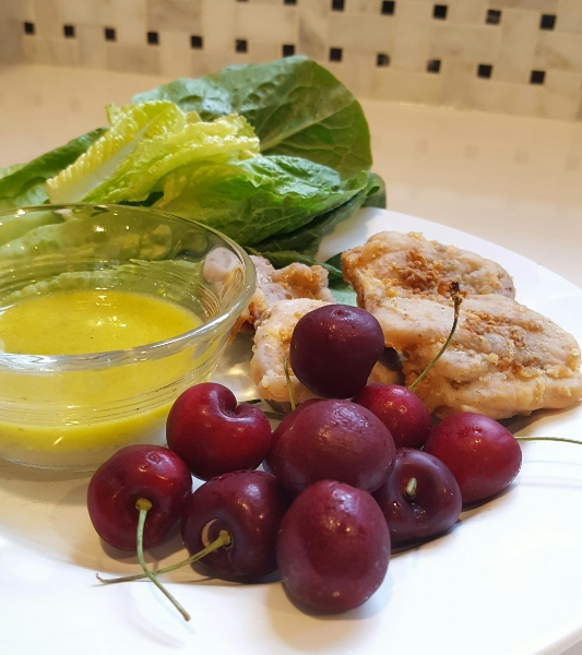 "I was eating this plate while editing the post above. That's a bunch of romaine, two boneless chicken thighs with pesto dressing for dipping and a half pint of cherries. Very ""healthy"" looking AND factually nutritious (romaine, despite being fairly light in color is one of the most nutritionally dense greens) and yet because I was not paying any attention to eating, I felt was hungry/unsatisfied less than 2 hours later."