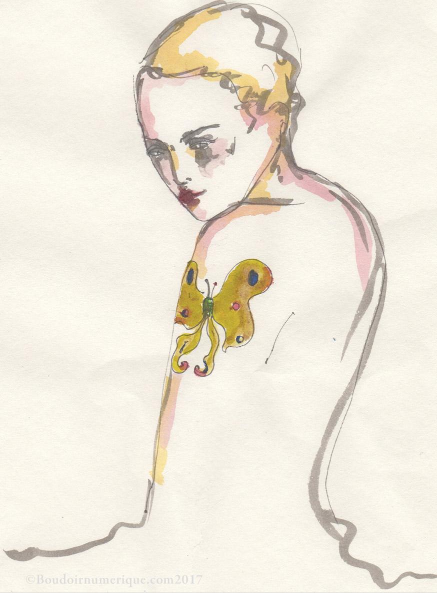 """Série Logical Creatures pour Le Boudoir Numérique : """"Circuit tatoué"""", dessin préparatoire de Lionel Samain.  Retrouvez le circuit tatoué ici ."""