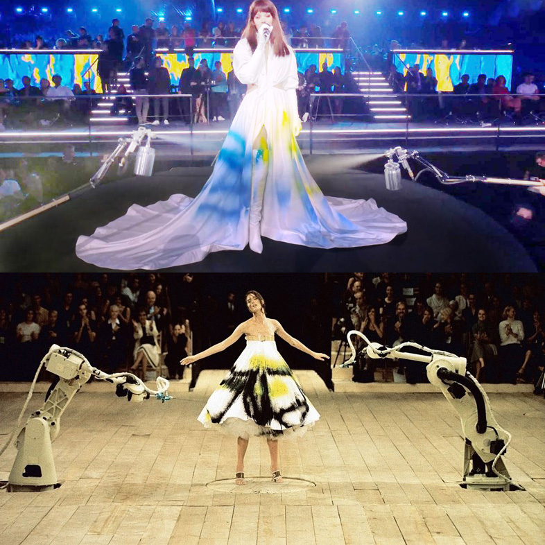 Above, singer Hailee Steinfeld, in a dress painted live by aerosol sprays, 4th November, 2018, at the MTV EMA, in Bilbao and below, model Shalom Harlow in the Alexander McQueen's No. 13 fashion show, in 1998, in London.