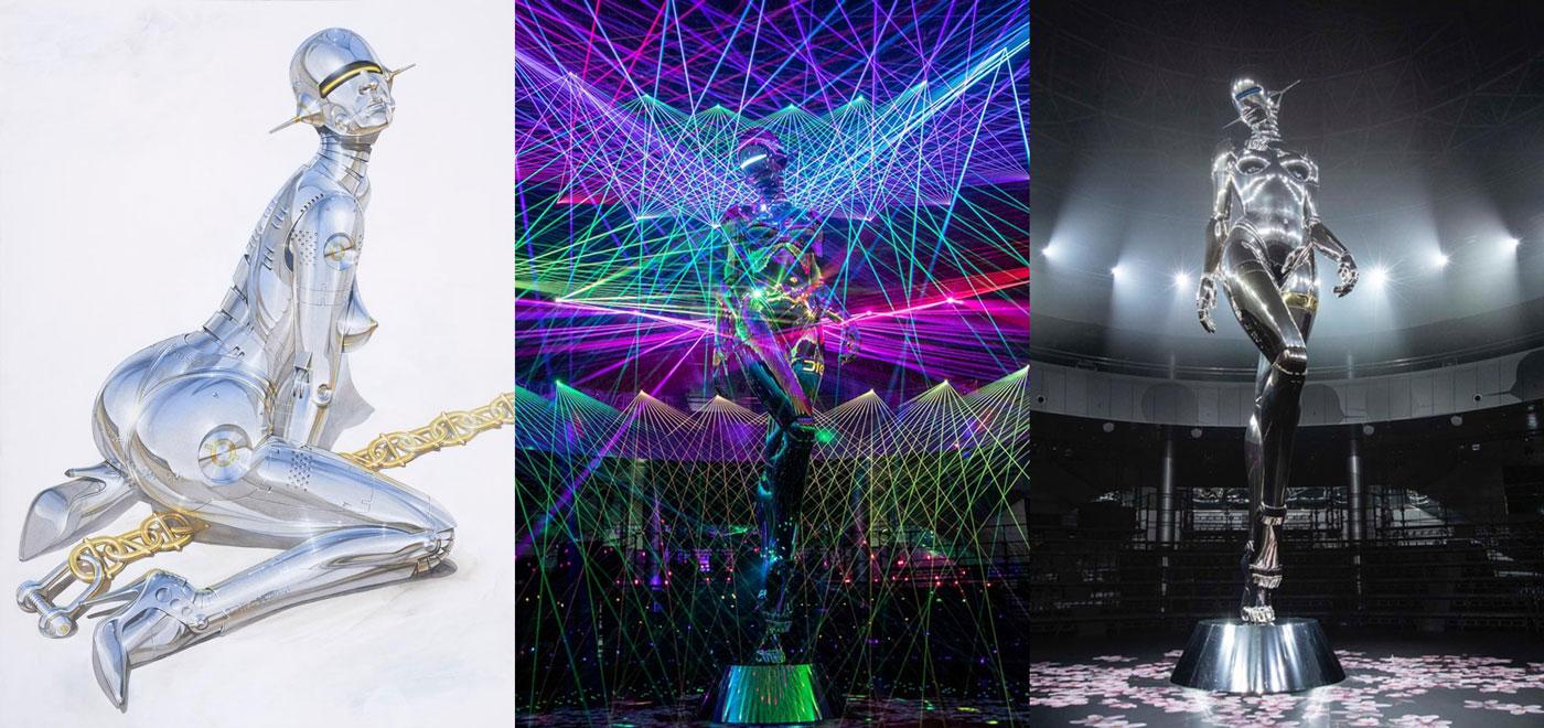 De gauche à droite, illustration d'Hajime Sorayama et deux visuels de son robot déesse géant, lors du défilé Dior Homme pre-fall 2019, à Tokyo, le 30 novembre 2018