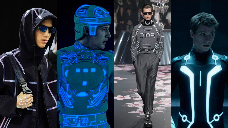 De gauche à droite, en alternance, défilé Dior Homme pre-fall 2019, à Tokyo, le 30 novembre 2018 et les deux films Tron, avec Bruce Boxleitner, en 1982 et Garrett Hedlund, en 2010