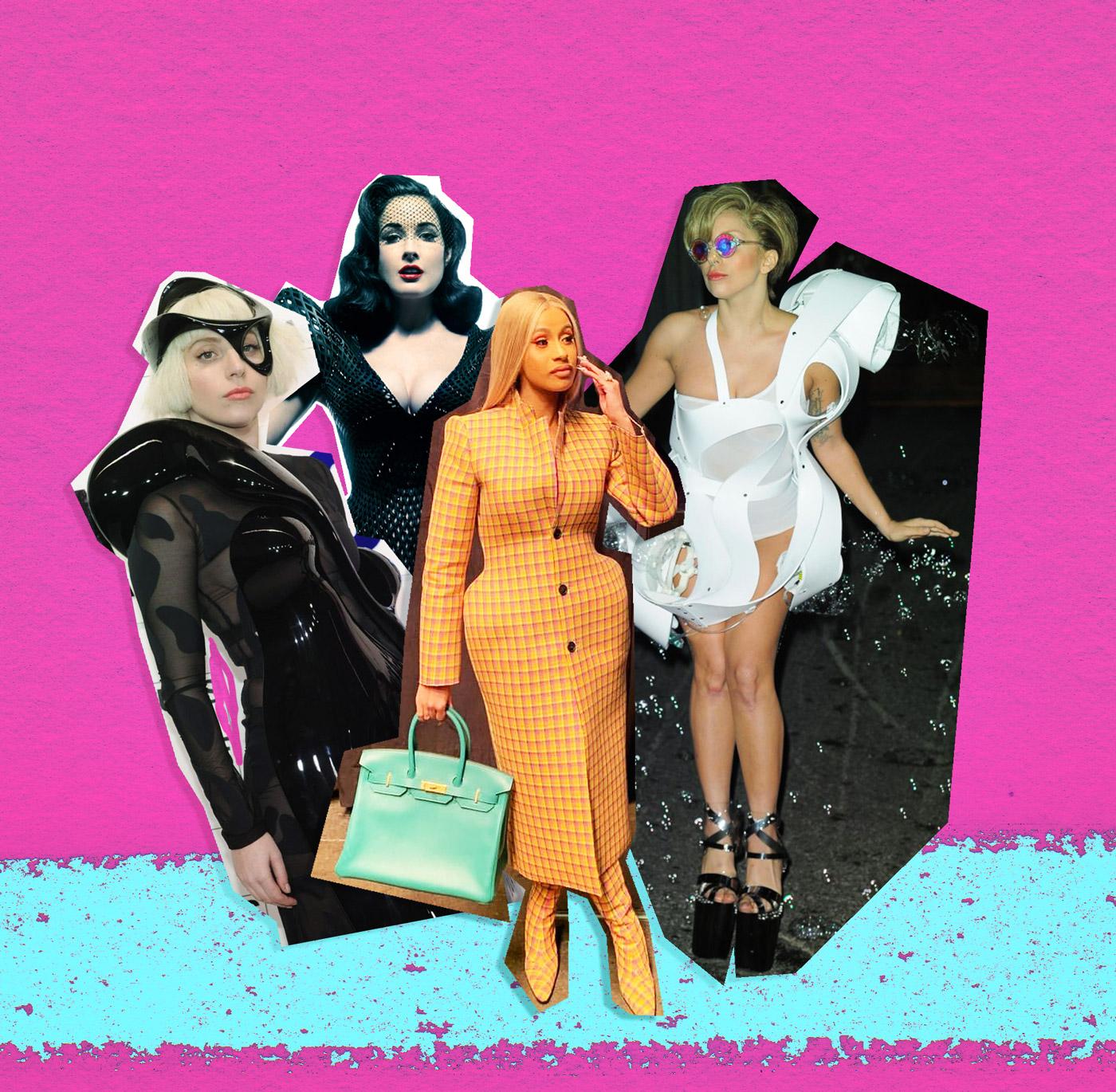 De gauche à droite, Lady Gaga, Dita Von Teese, Cardi B et, à nouveau, Lady Gaga