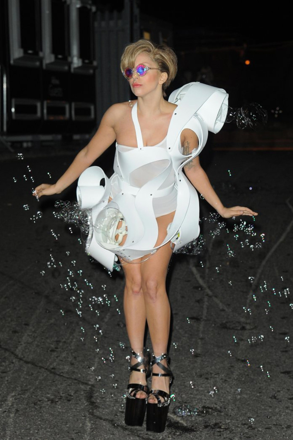 Singer Lady Gaga, wearing 3D printing Anemone dress, 1st September, 2013, in London