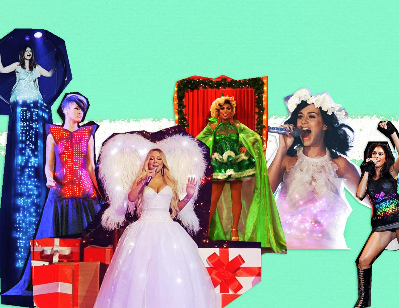 From left to right, Laura Pausini, Rihanna, Mariah Carey, Shangela, Katy Perry and Nicole Scherzinger